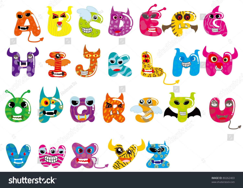 26 Letters Monster Letter Z Stock Vector 80262403 ...