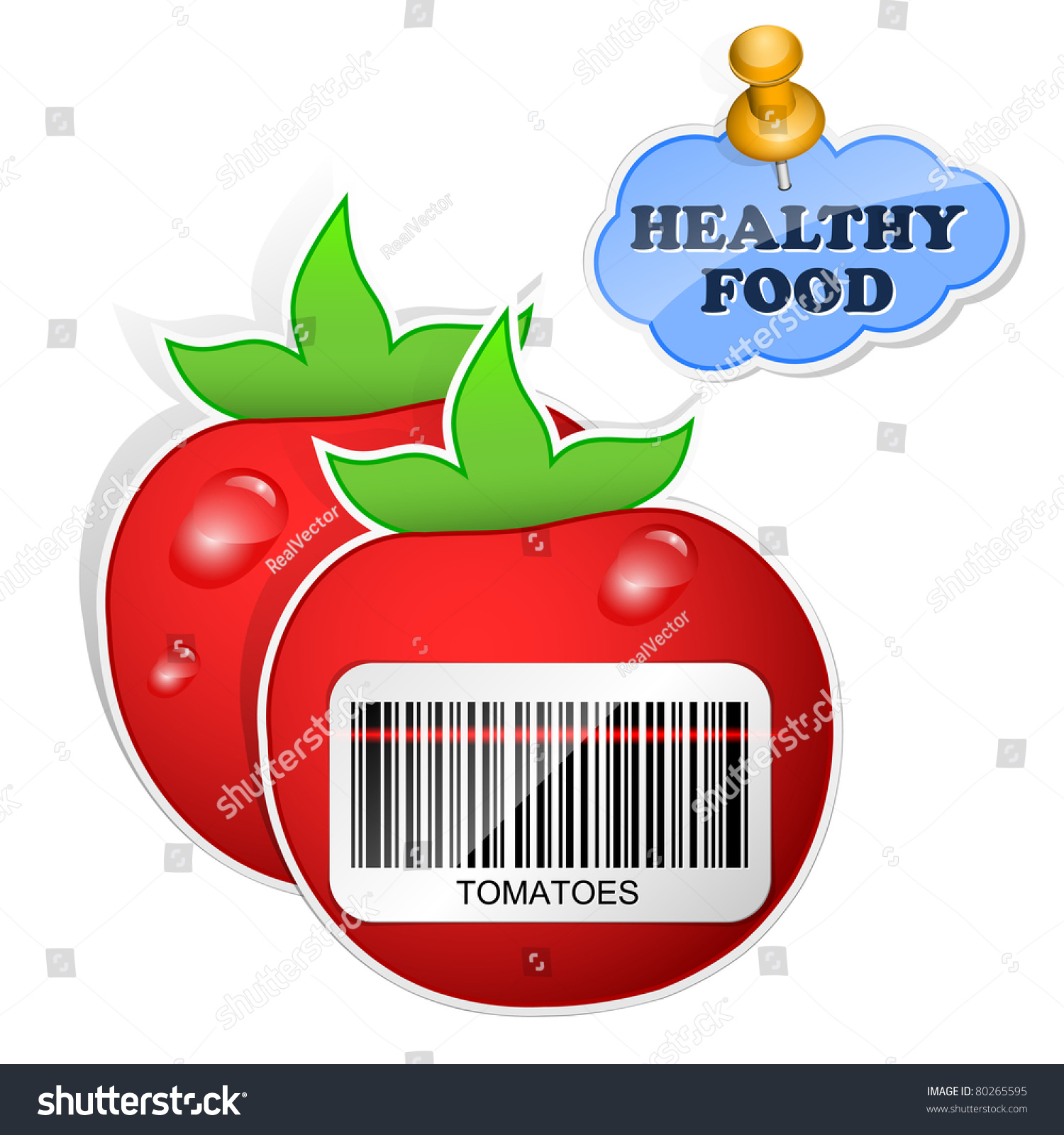 Icon tomatoes barcode by healthy food stock vector for Barcode food