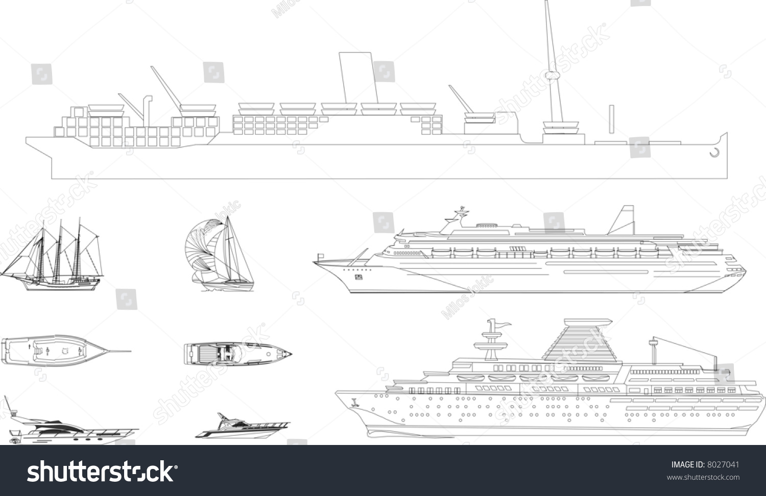Ship Linear Drawings Vector Easy Export Stock Vector Royalty Free