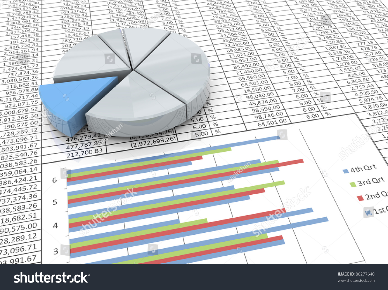 3d reflective pie chart on background stock illustration 80277640 3d reflective pie chart on the background of spreadsheet nvjuhfo Image collections
