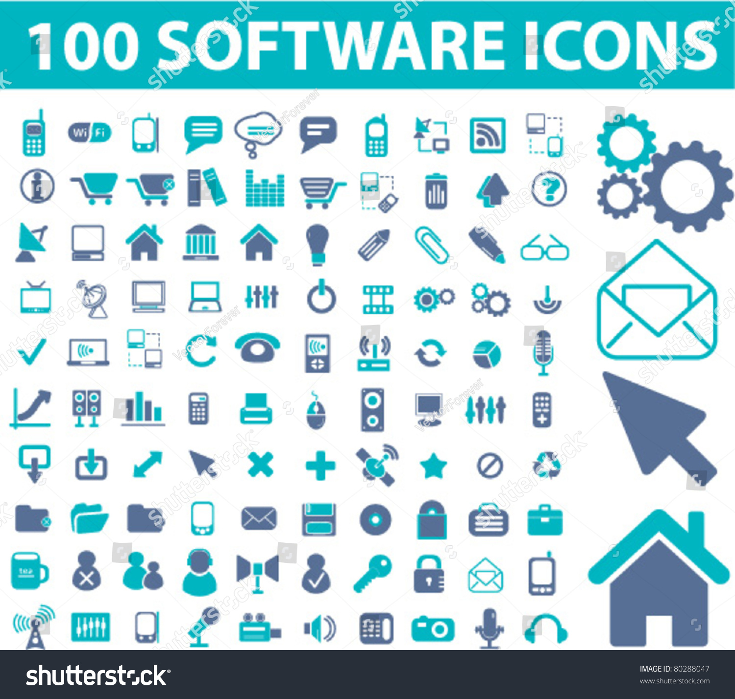 100 Software Icons Signs Vector 80288047 Shutterstock: vector image software