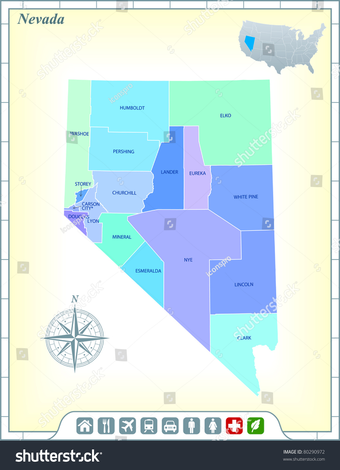 Nevada State Map Community Assistance Activates Stock Vector ...