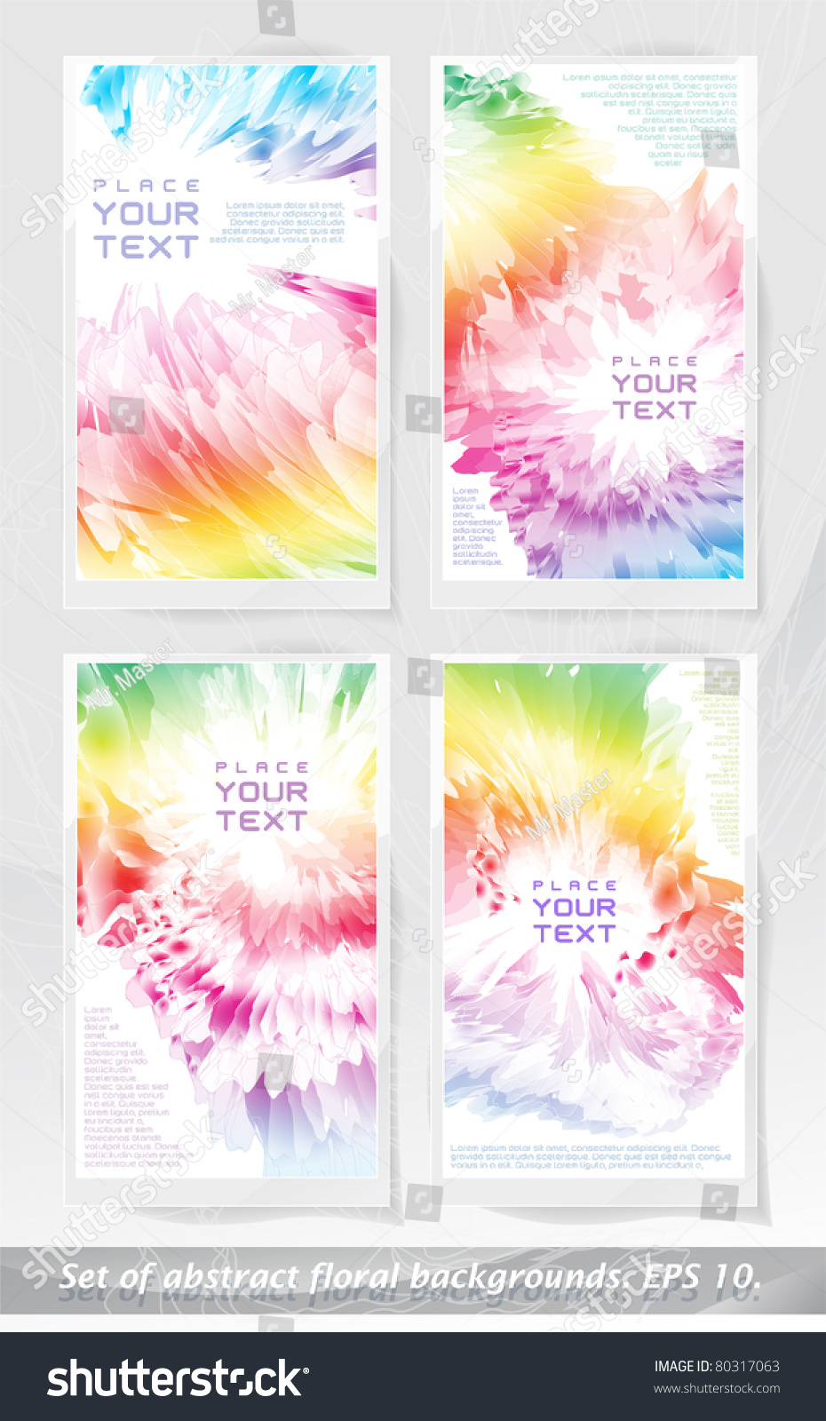 Set Abstract Floral Backgrounds Eps10 Stock Vector Royalty Free