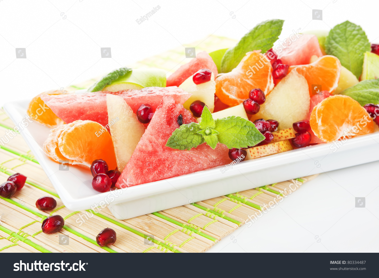 Fresh Tropical Fruit Salad In White Plate. Summer Background. Stock ...