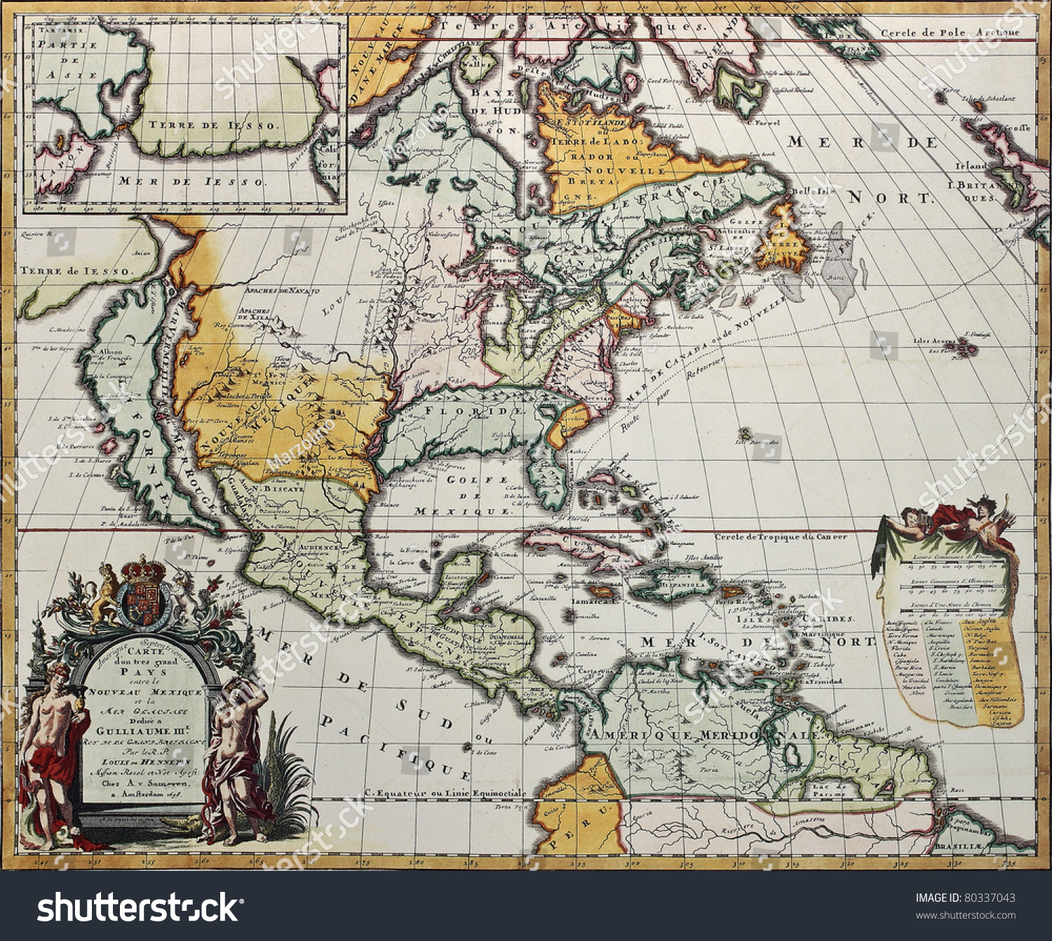 North America Old Map Created By Louis Hennepin Published In - Old maps of america