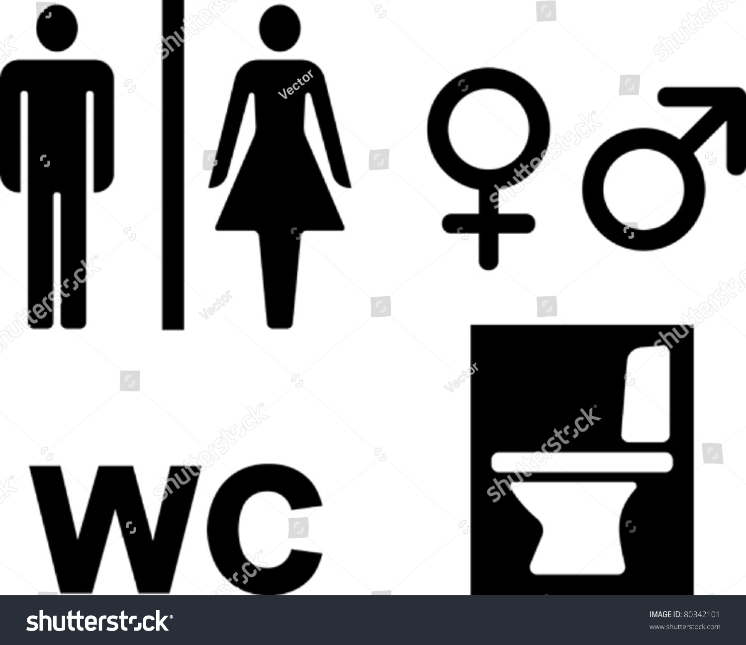Bathroom Signs Vector bathroom wc signs vector illustrations stock vector 80342101