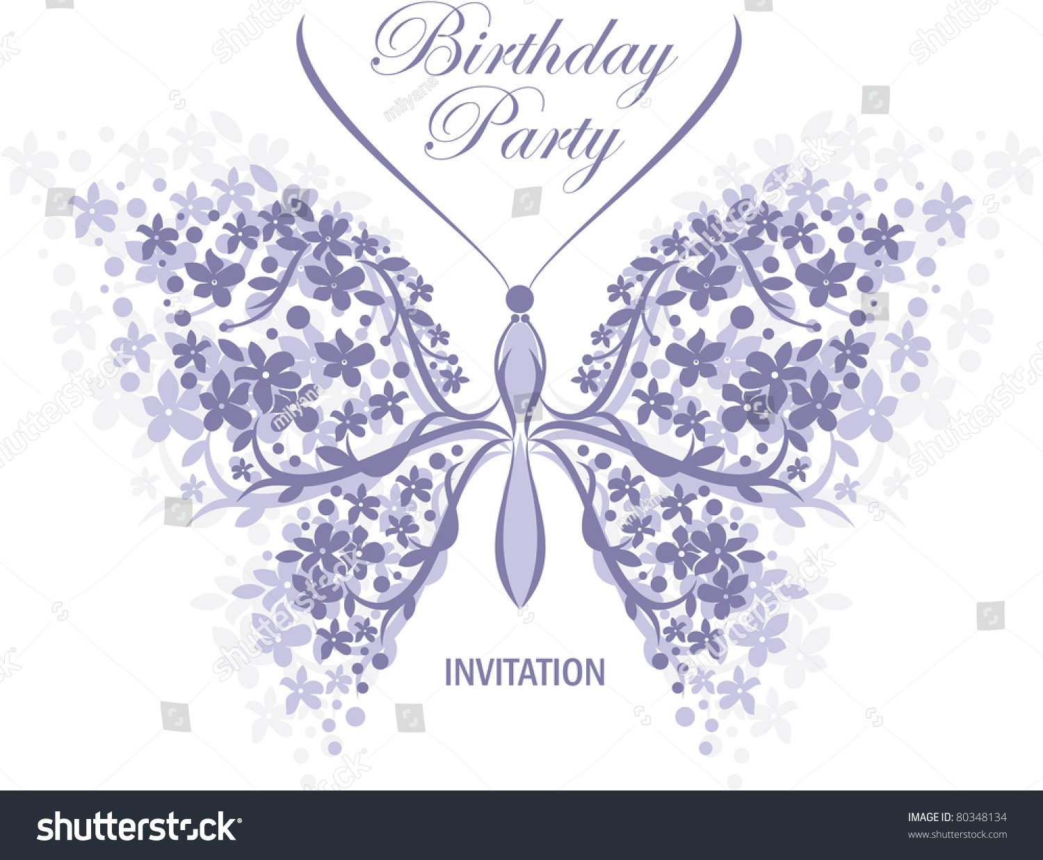 Birthday Wedding Invitation Design Butterfly Flower Stock Vector ...