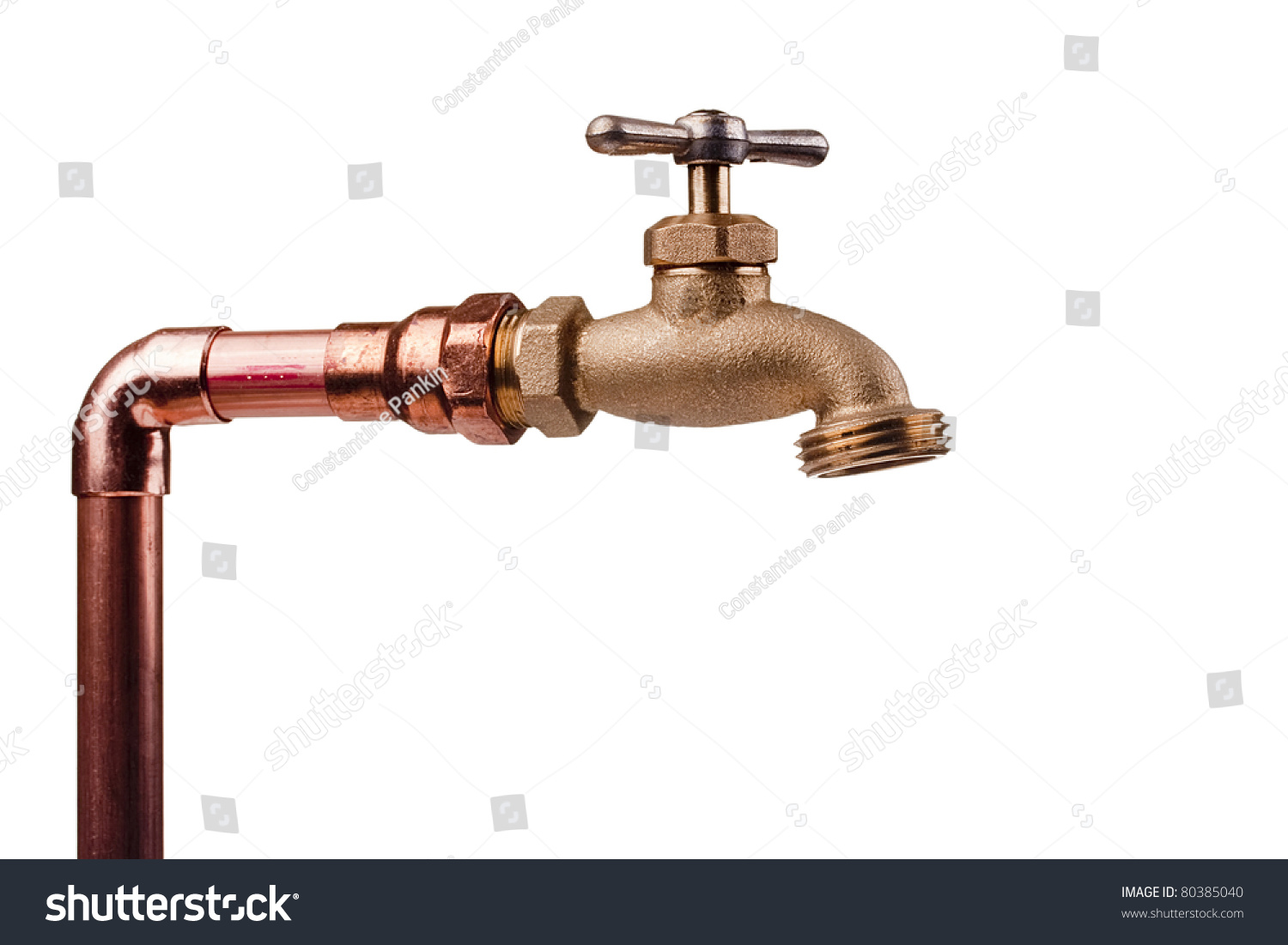 Bronze Faucet Attached Water System Copper Stock Photo