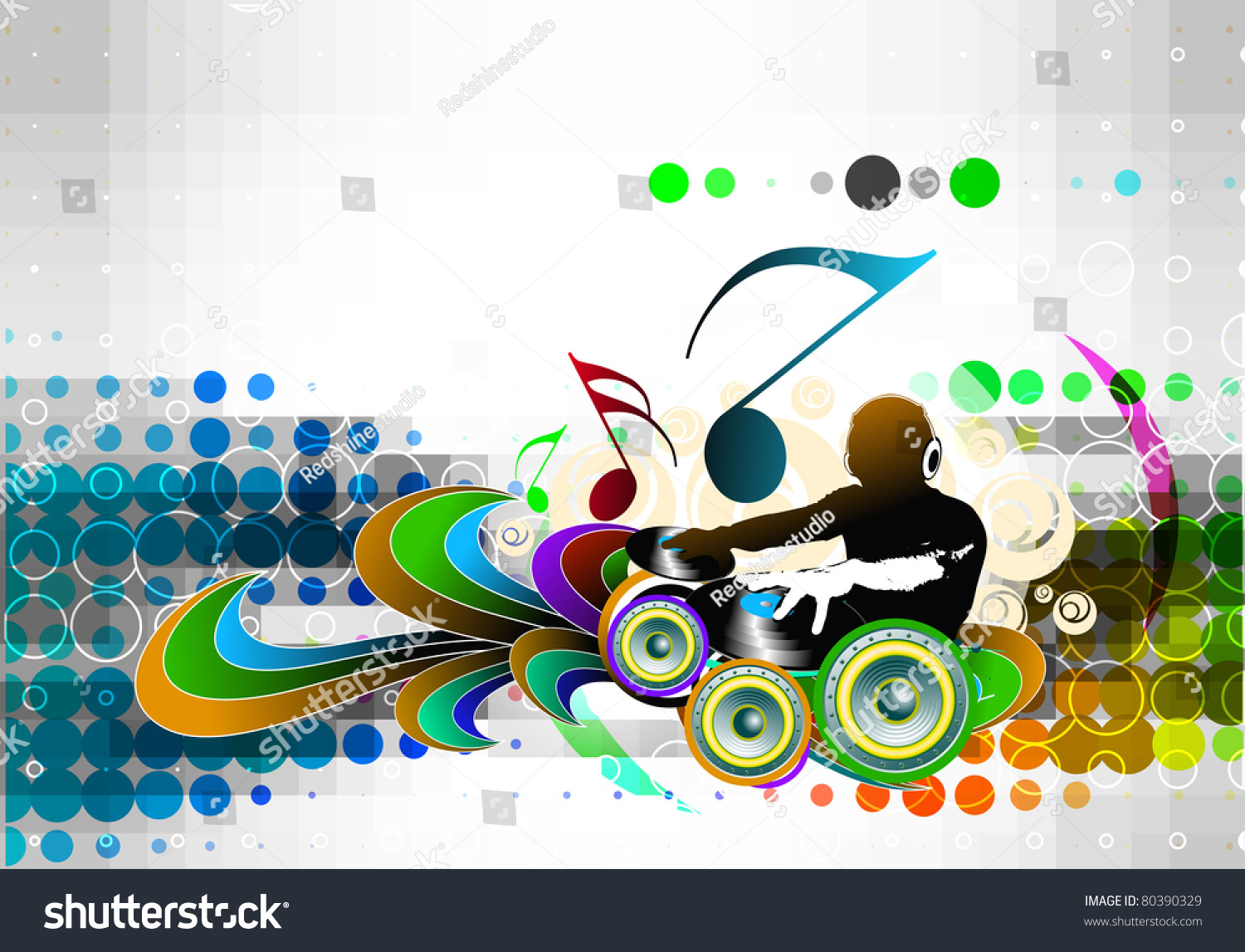 Abstract vector illustration of an dj man playing tunes with music note background