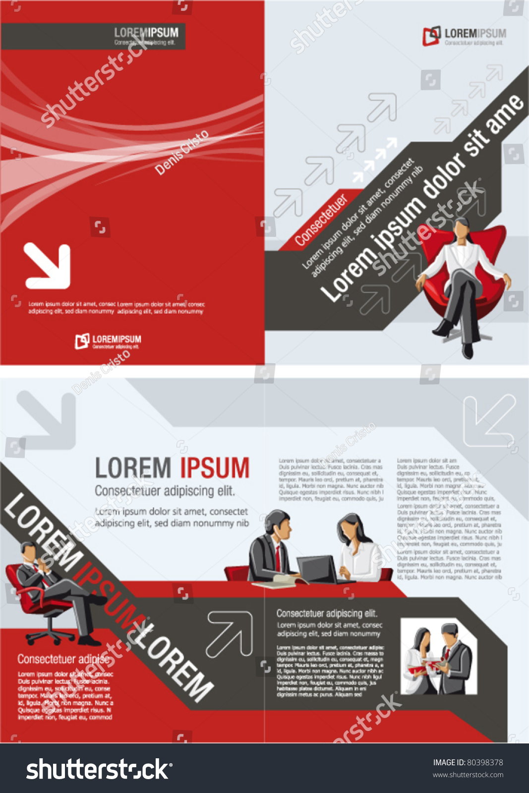 Red black template advertising brochure business stock for Red brochure template