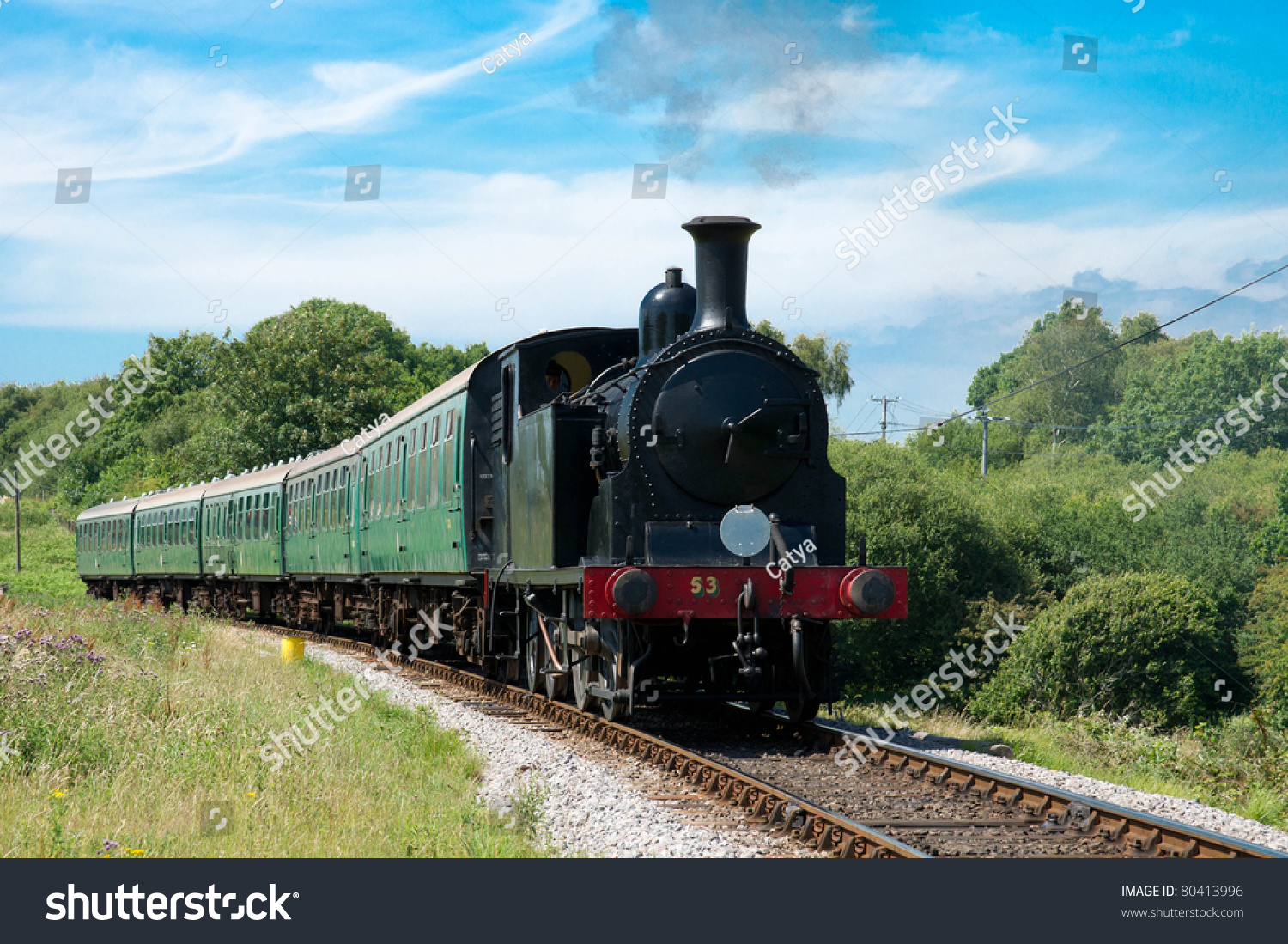 Old Vintage Steam Train Green Wagons Stock Photo 80413996