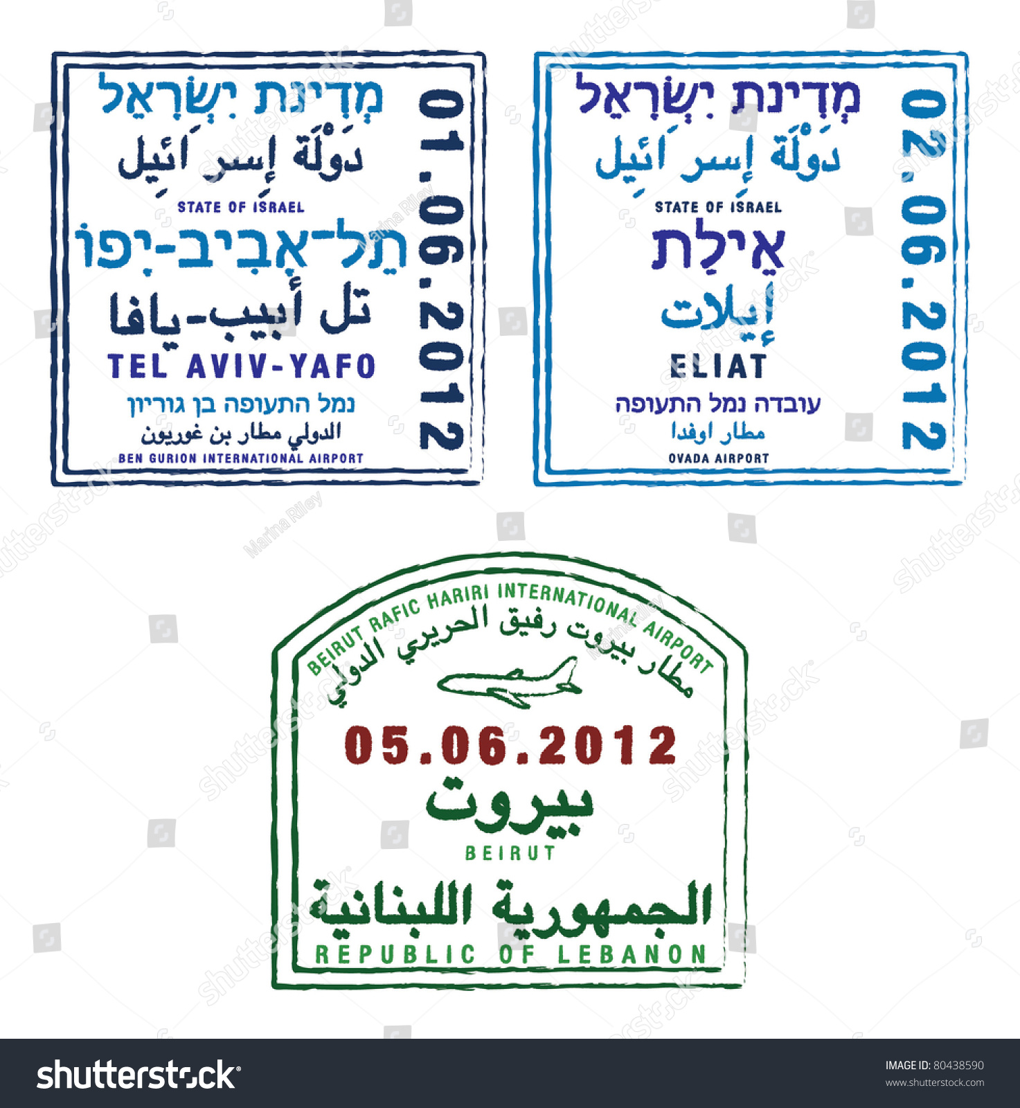 Stylized Passport Stamps Of Israel And Lebanon In Vector Format