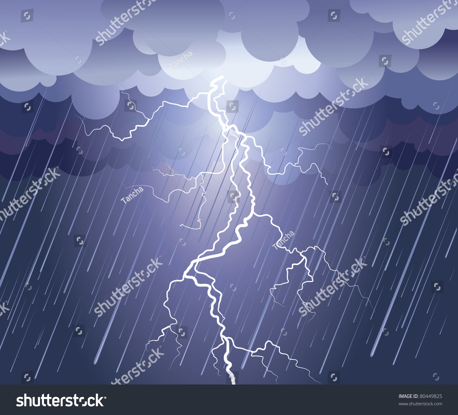 Lightning Strikevector Rain Image Dark Clouds Stock Vector ...