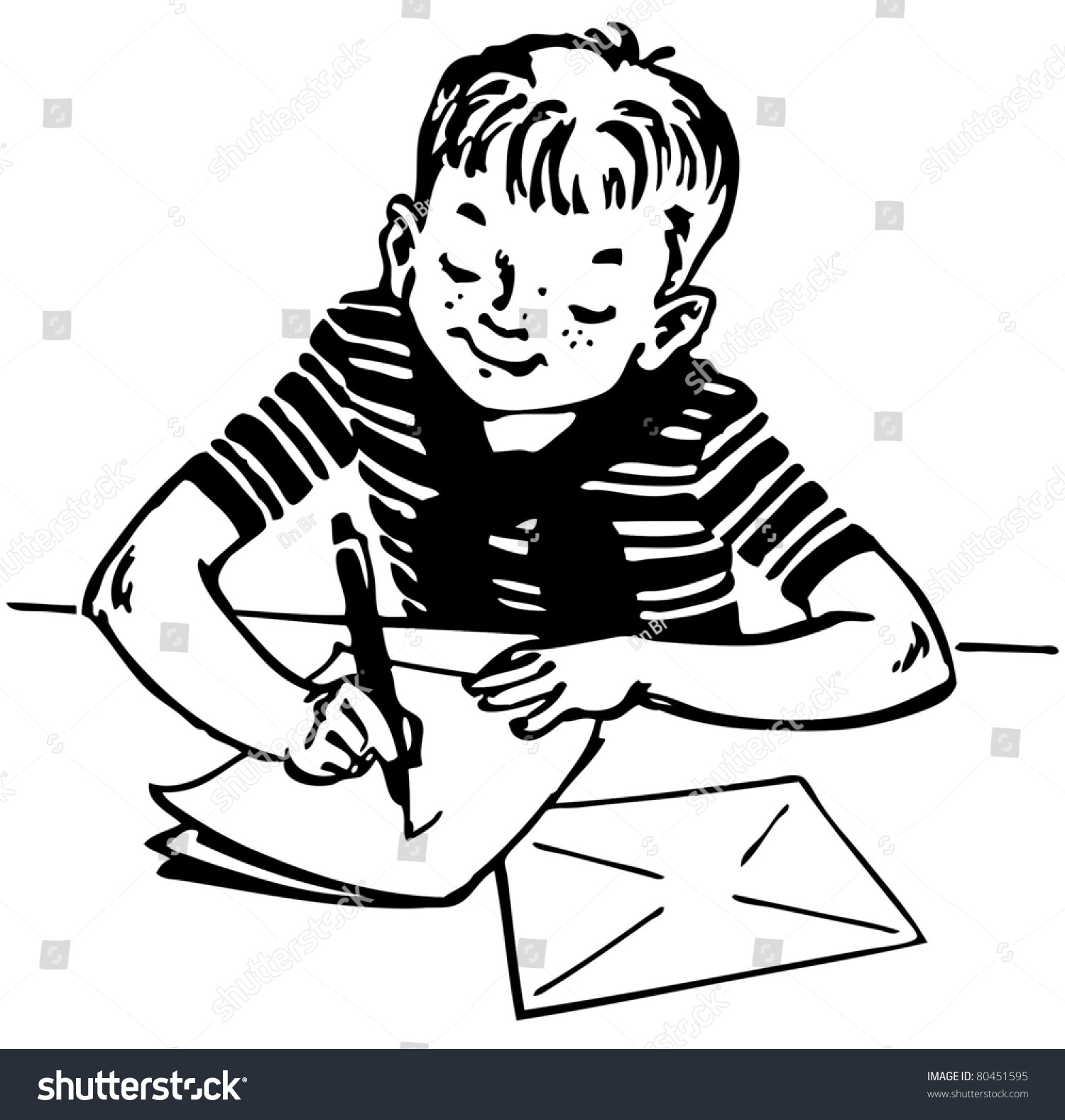 Boy Writing Letter Stock Vector 80451595