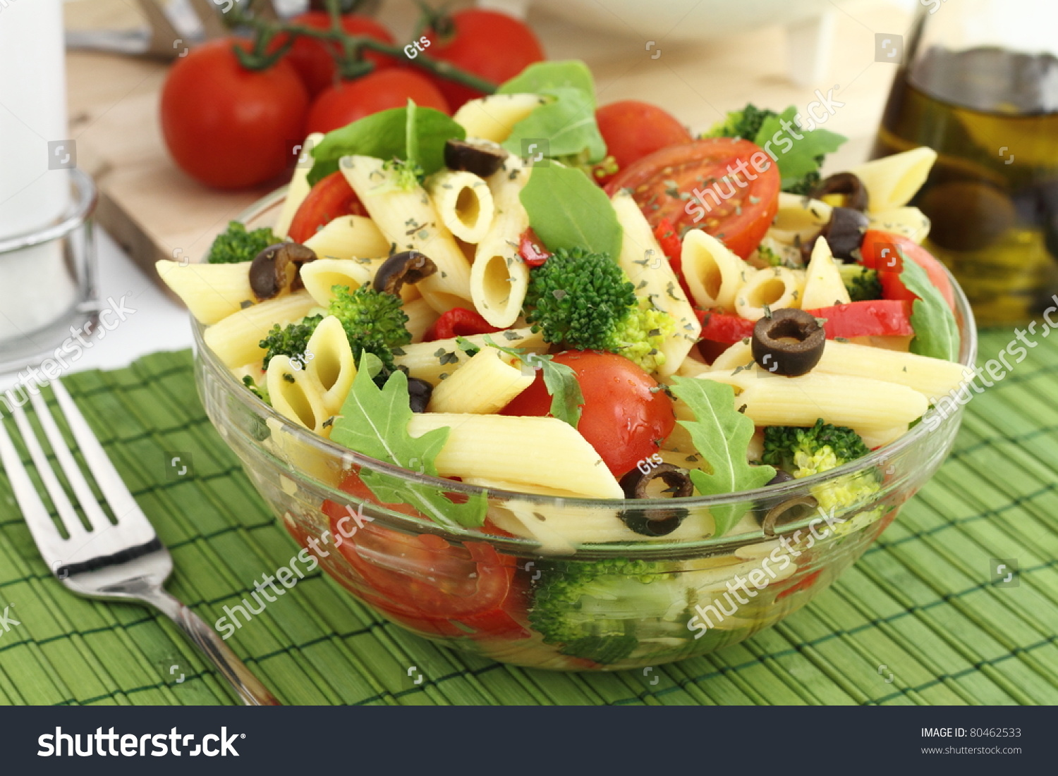Penne Pasta Salad With Vegetables And Herbs Stock Photo ...