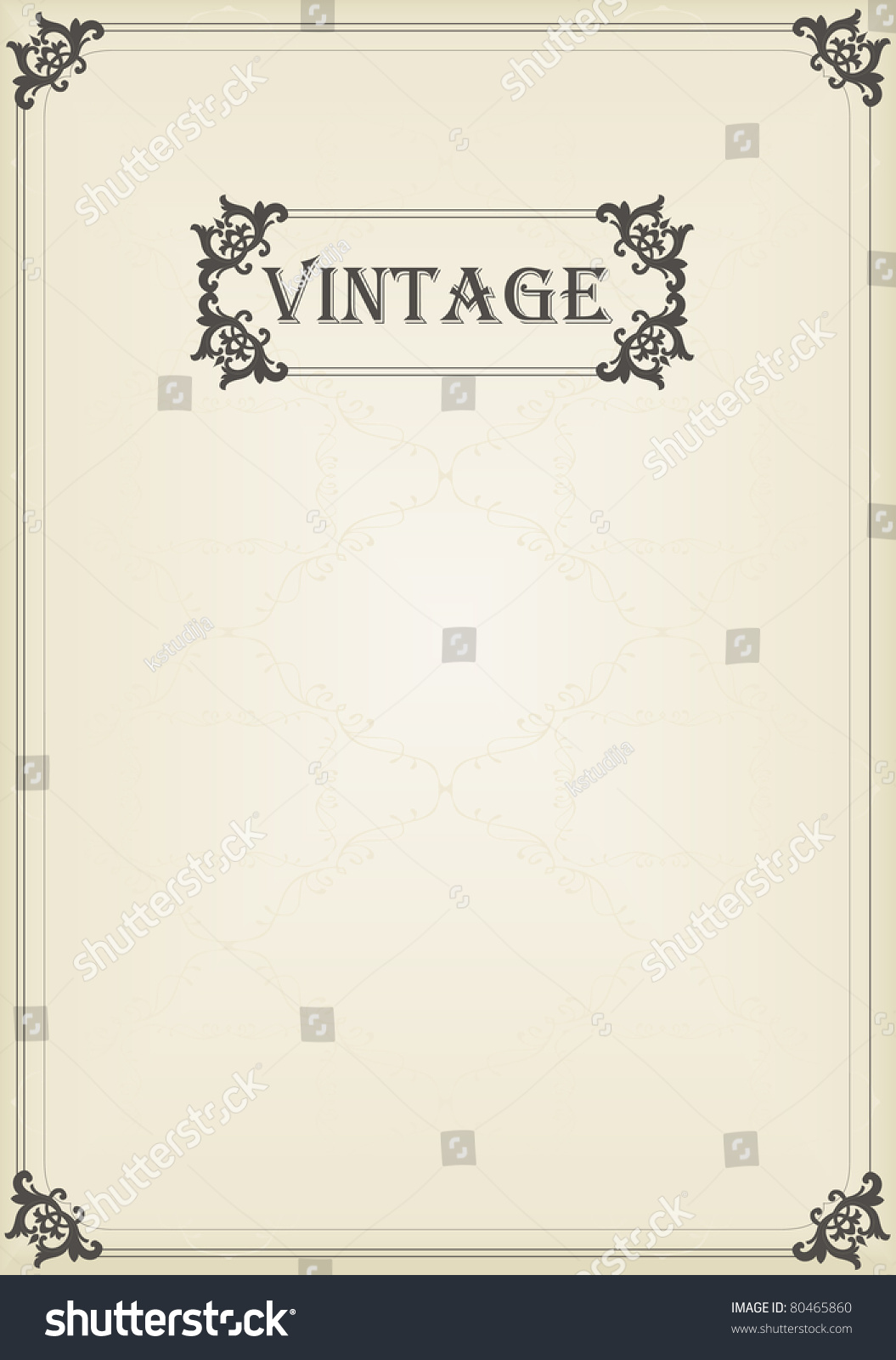Old Book Cover Vector Free : Vintage vector decorative frame for book cover or card