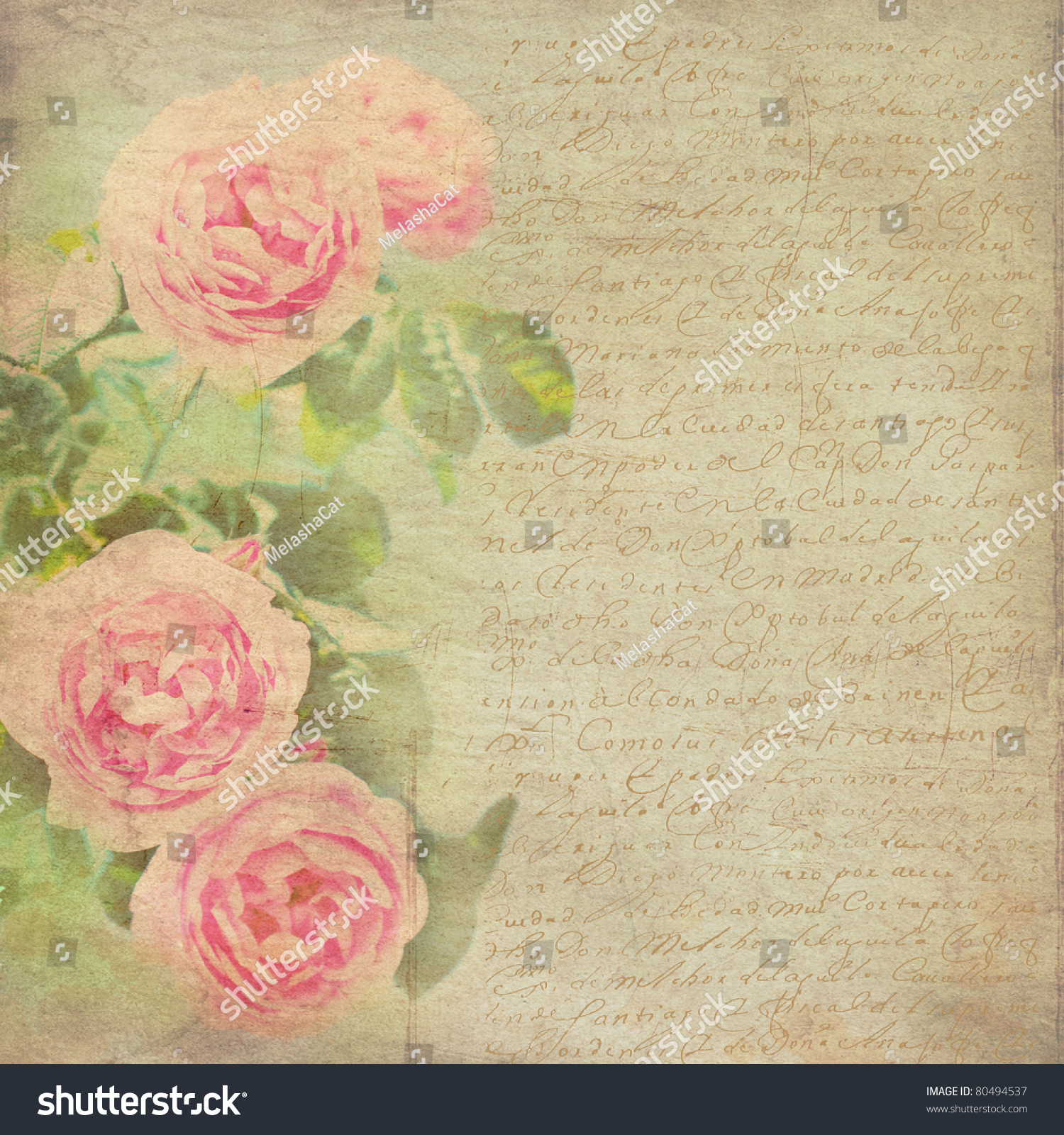 Vintage Background Flowers Background Vintage Paper Stock Photo