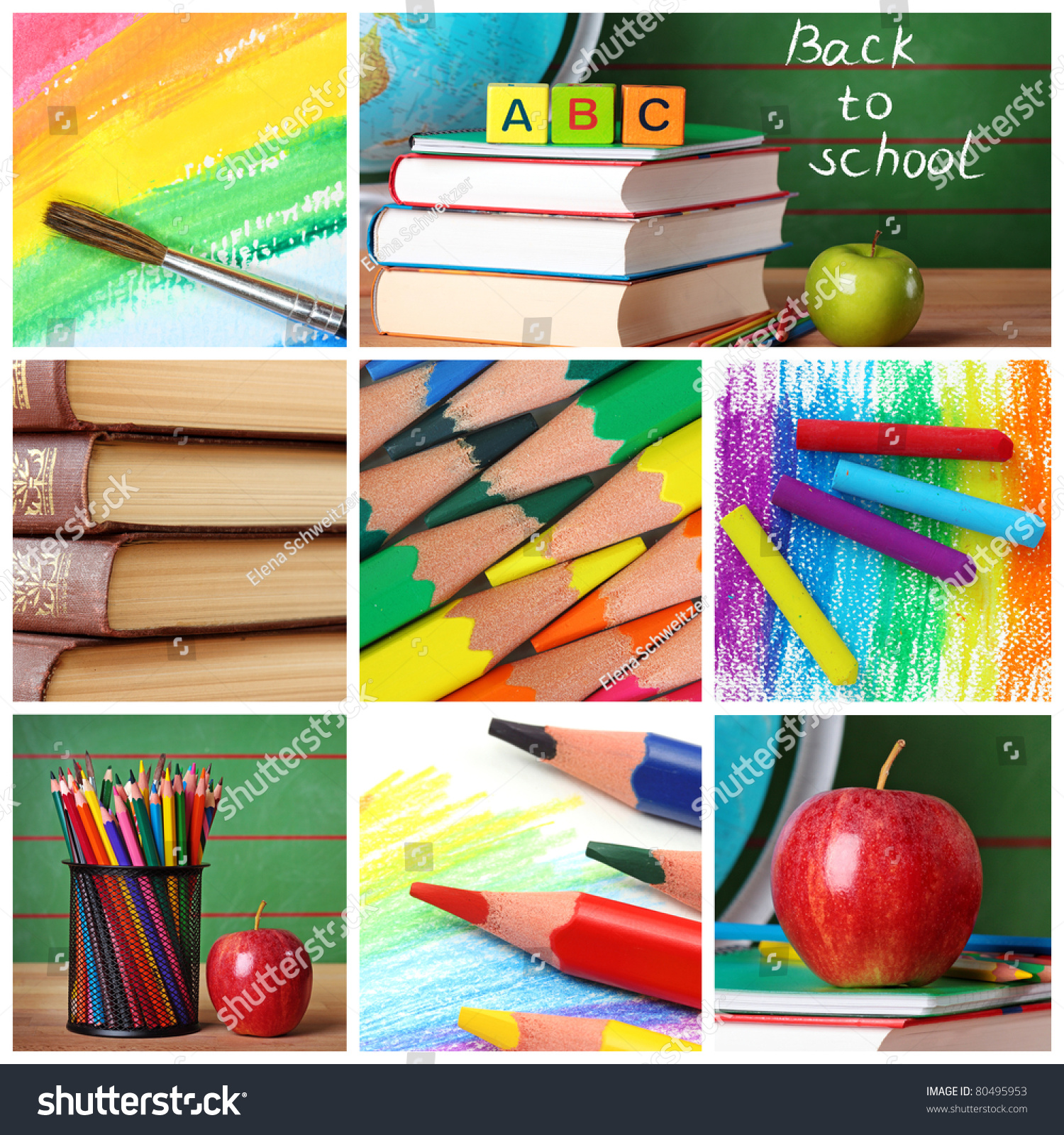 Back School Collage Stock Photo Edit Now 80495953 Shutterstock