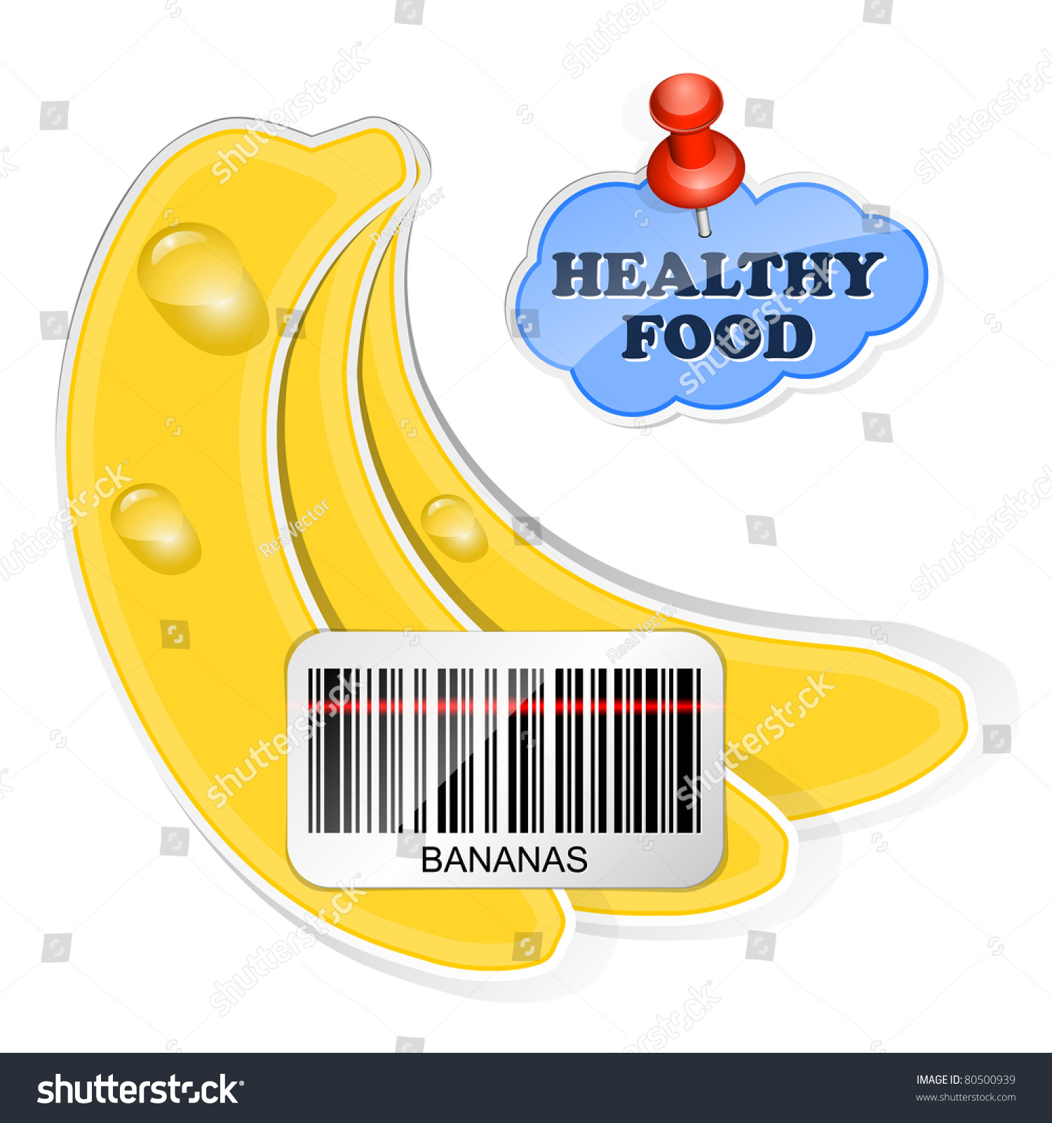 Bananas icon with barcode and healthy food sticker vector for Food barcode