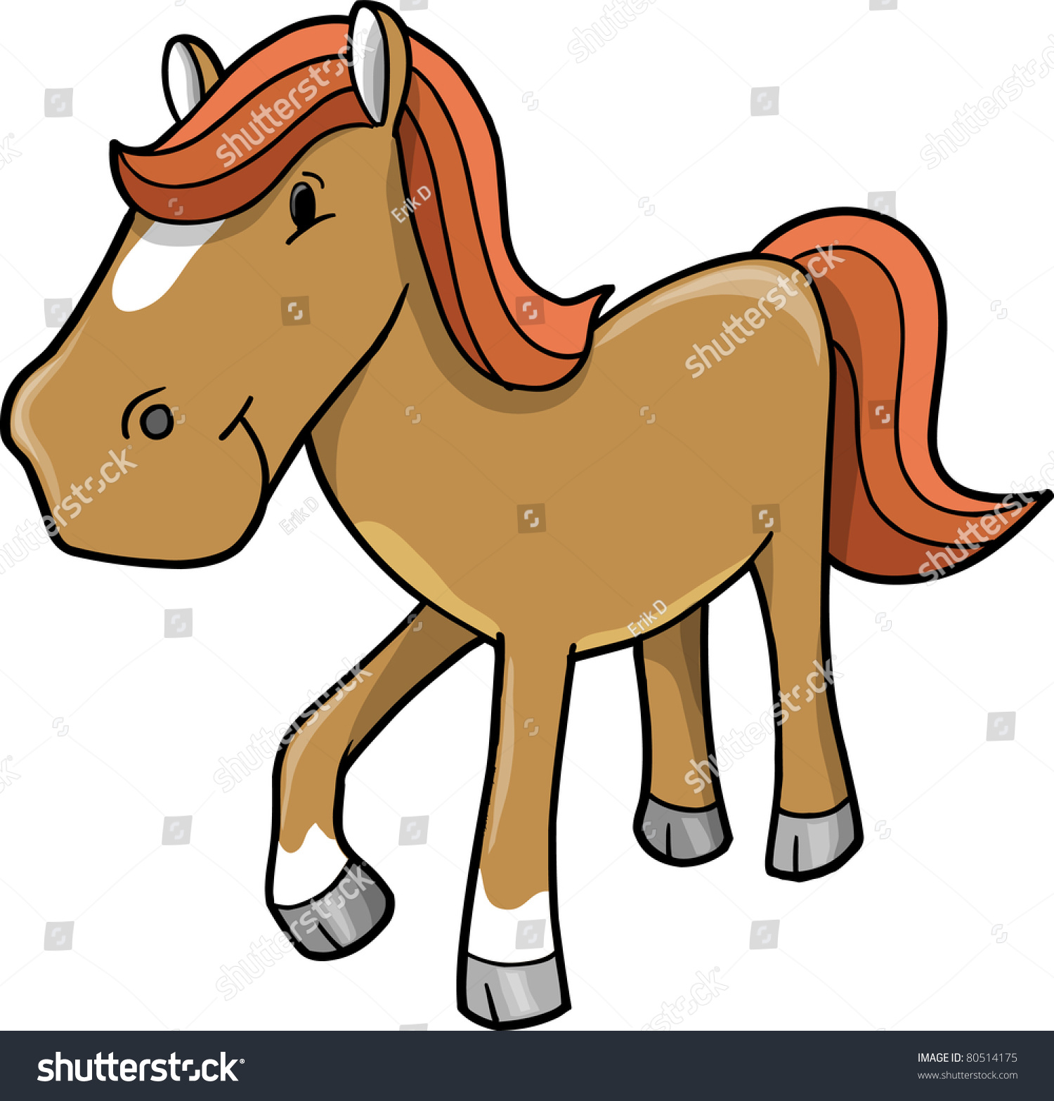 Cute Horse Pony Vector Illustration Stock Vector Royalty Free 80514175