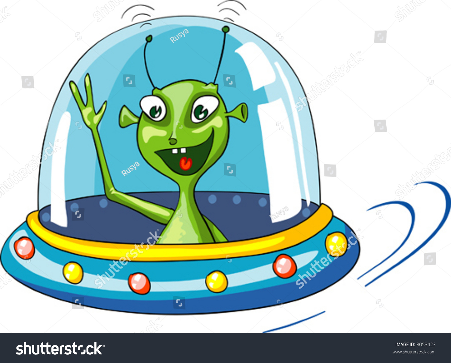 Vector Cartoon Illustration Of Funny Green Alien In