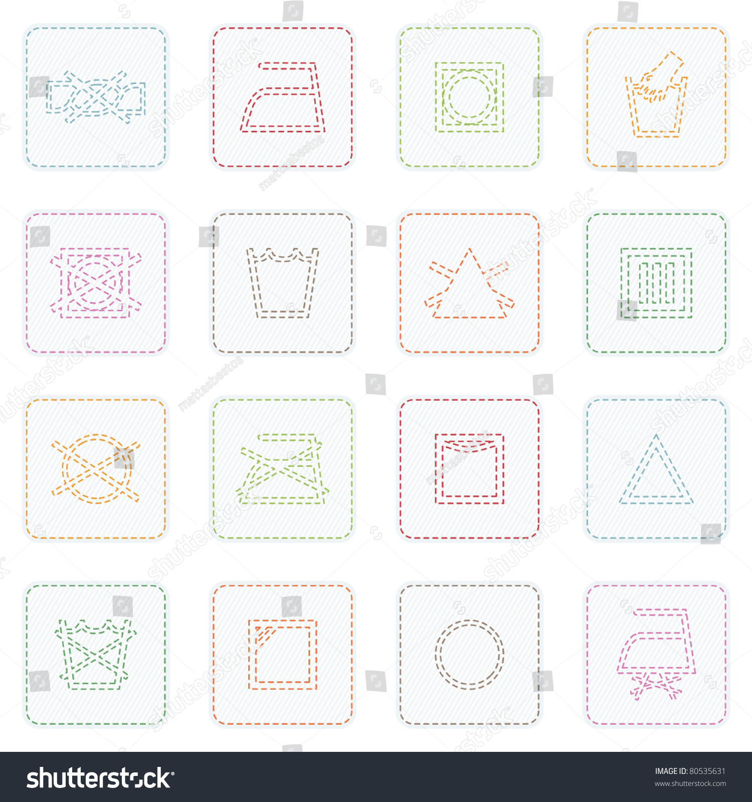 Collection Icons Stitched Fabric Care Symbols Stock Vector Royalty