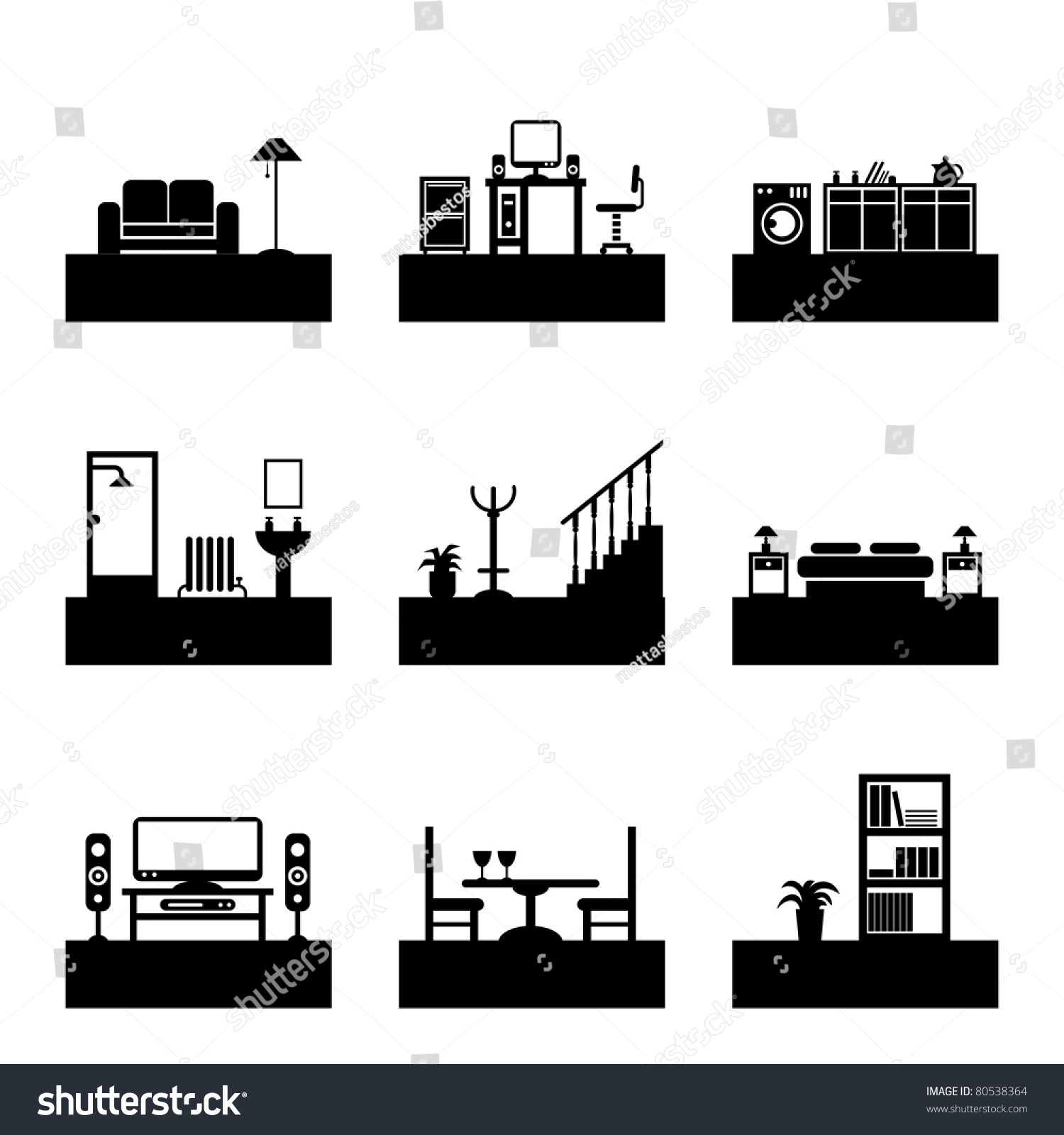 Home Interior Design Silhouette Icons Easily Editable For Color Change