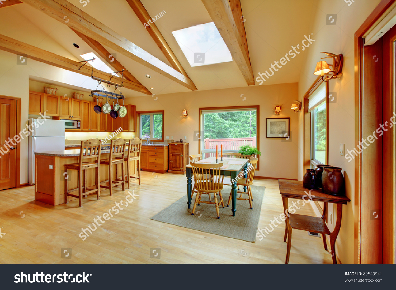 cowboy ranch living room in washington state with leather sofas stock photo 80549941 shutterstock. Black Bedroom Furniture Sets. Home Design Ideas