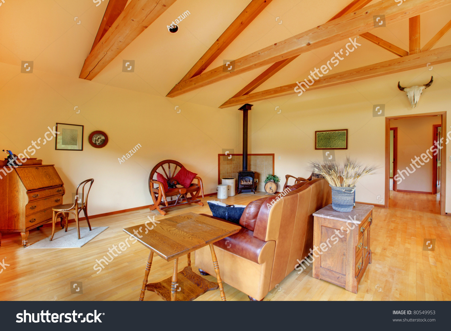 cowboy ranch living room in washington state with leather sofa stock photo 80549953 shutterstock. Black Bedroom Furniture Sets. Home Design Ideas