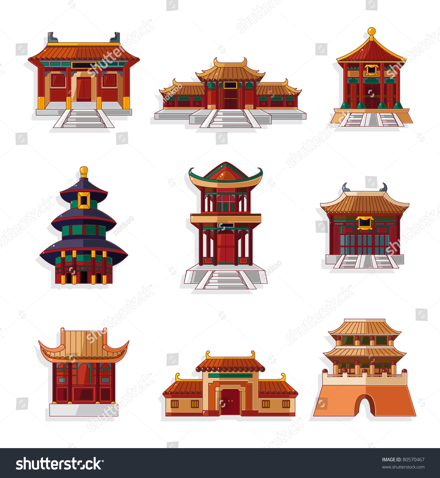 Cartoon Chinese House Icon Set Stock Vector Illustration 80570467 ...: www.shutterstock.com/pic-80570467/stock-vector-cartoon-chinese...
