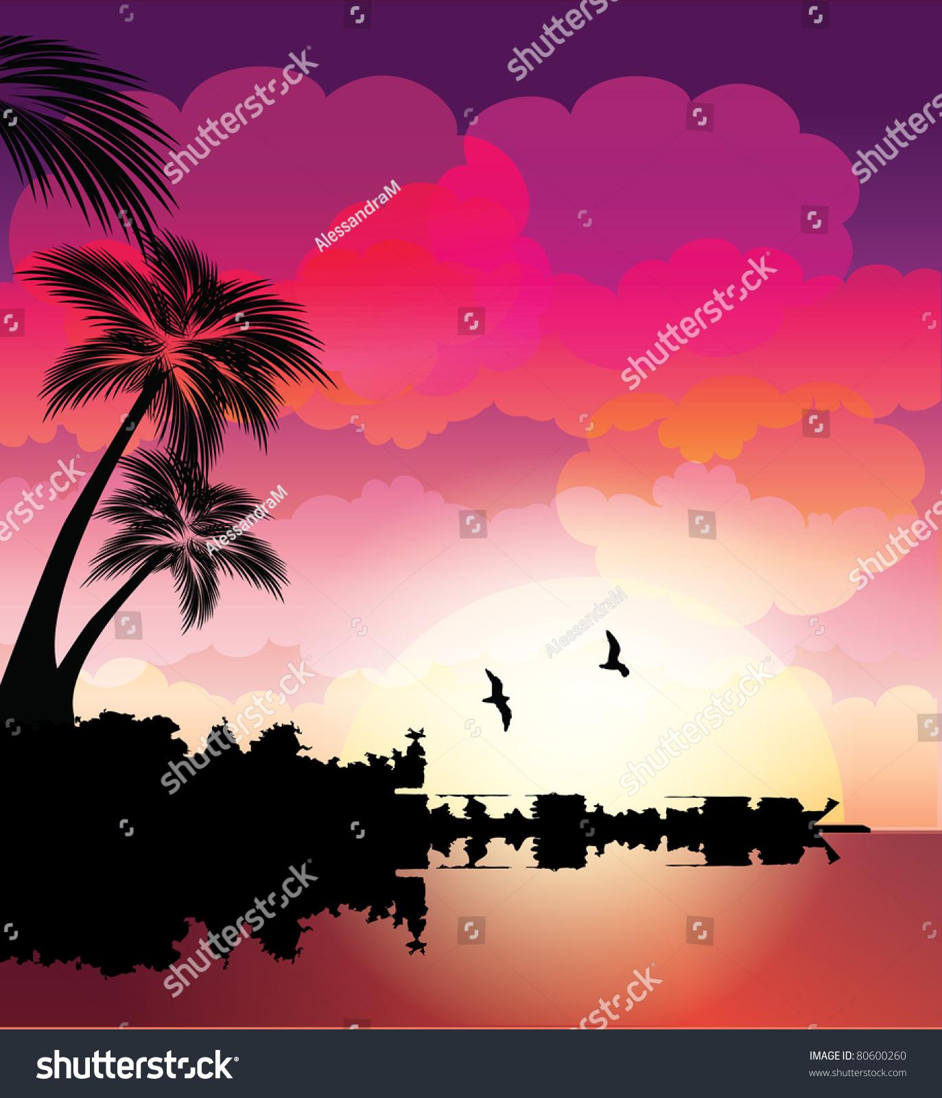 Tropical Beach Sunset Stock Vector Illustration 80600260