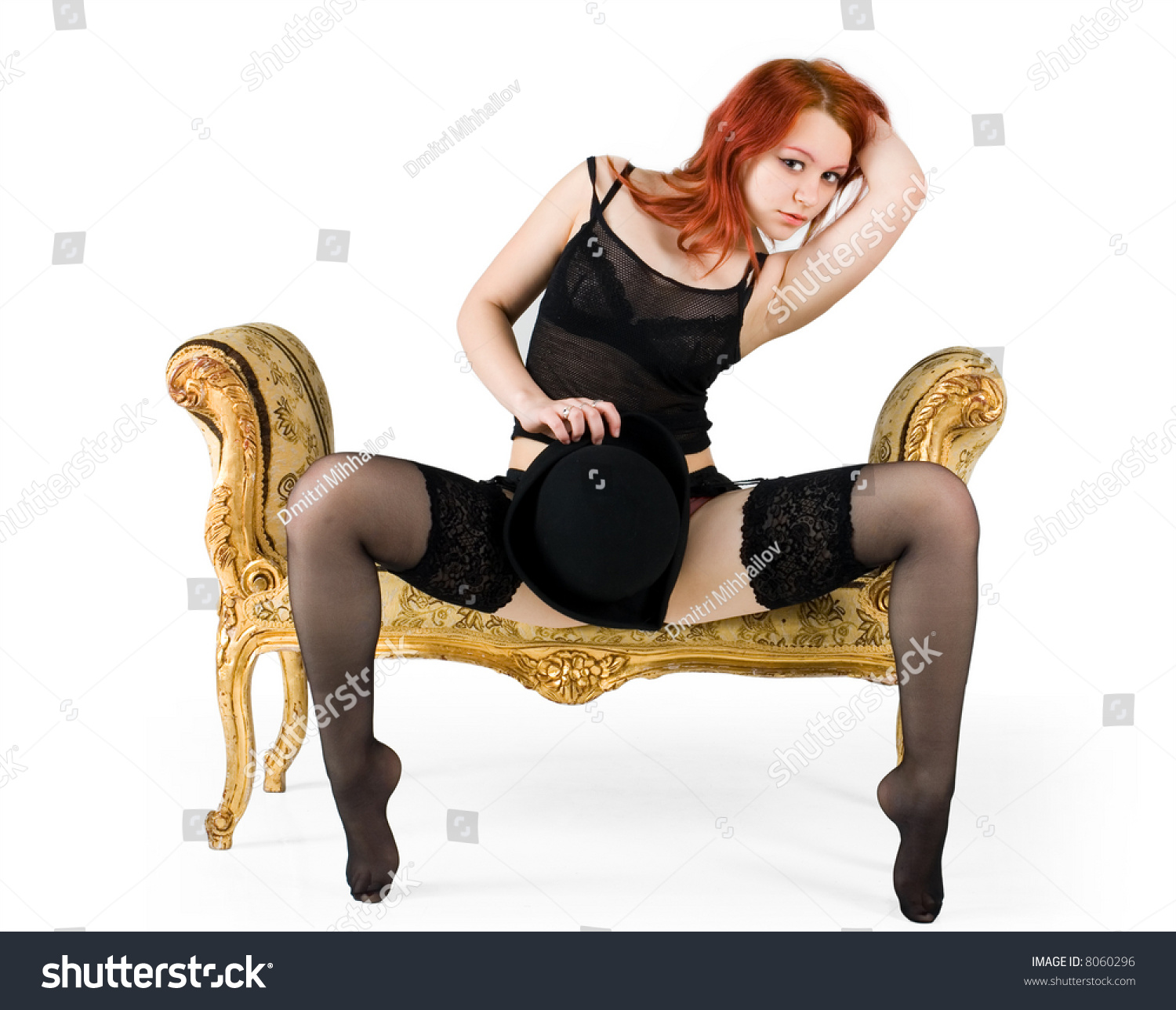 Redhead Chick With Black Stockings Screwed In A Sofa