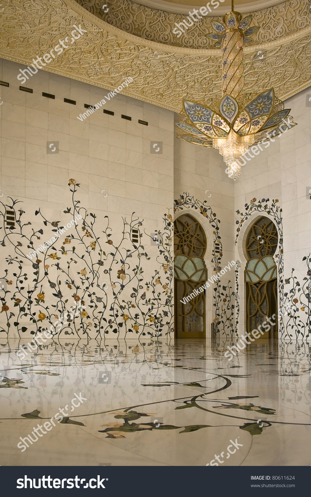 Abu Dhabi Sheikh Zayed Grand Mosque Beautiful Pattern On The Wall Element Of Interior