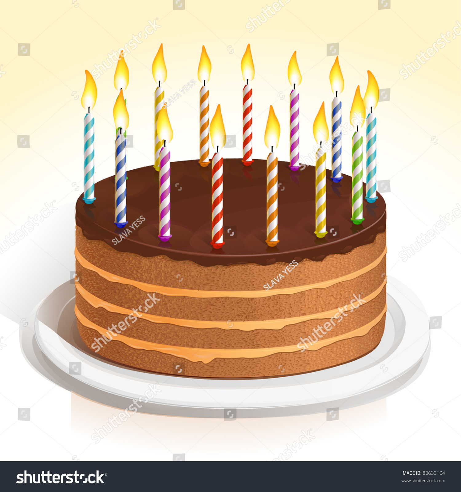 Pictures Of Birthday Cakes With Candles Lit : Vector Birthday Cake With Colorful With Lit Candles On A ...
