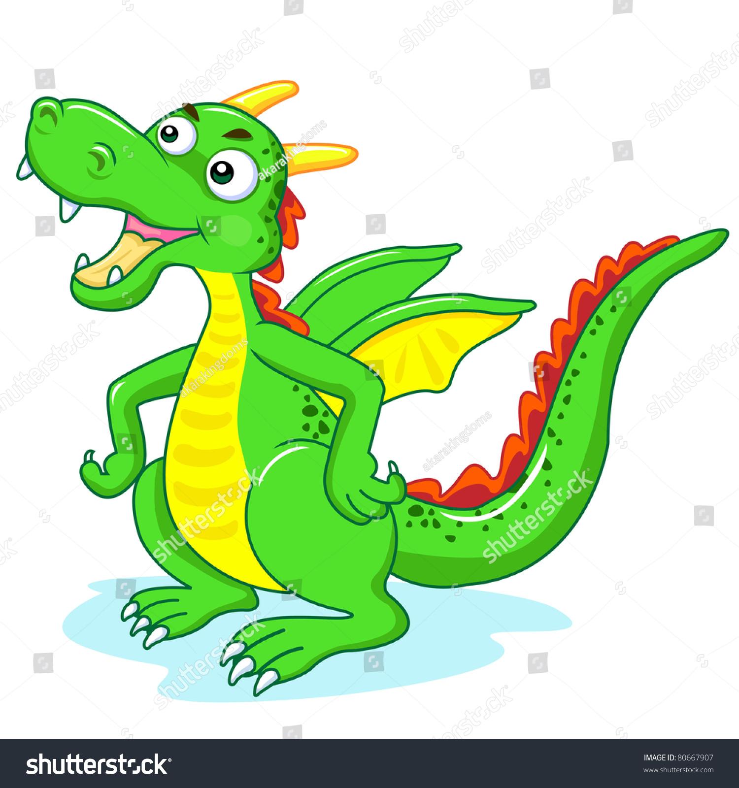 The Dragon Cartoon For Kids Stock Vector Illustration 80667907 ...