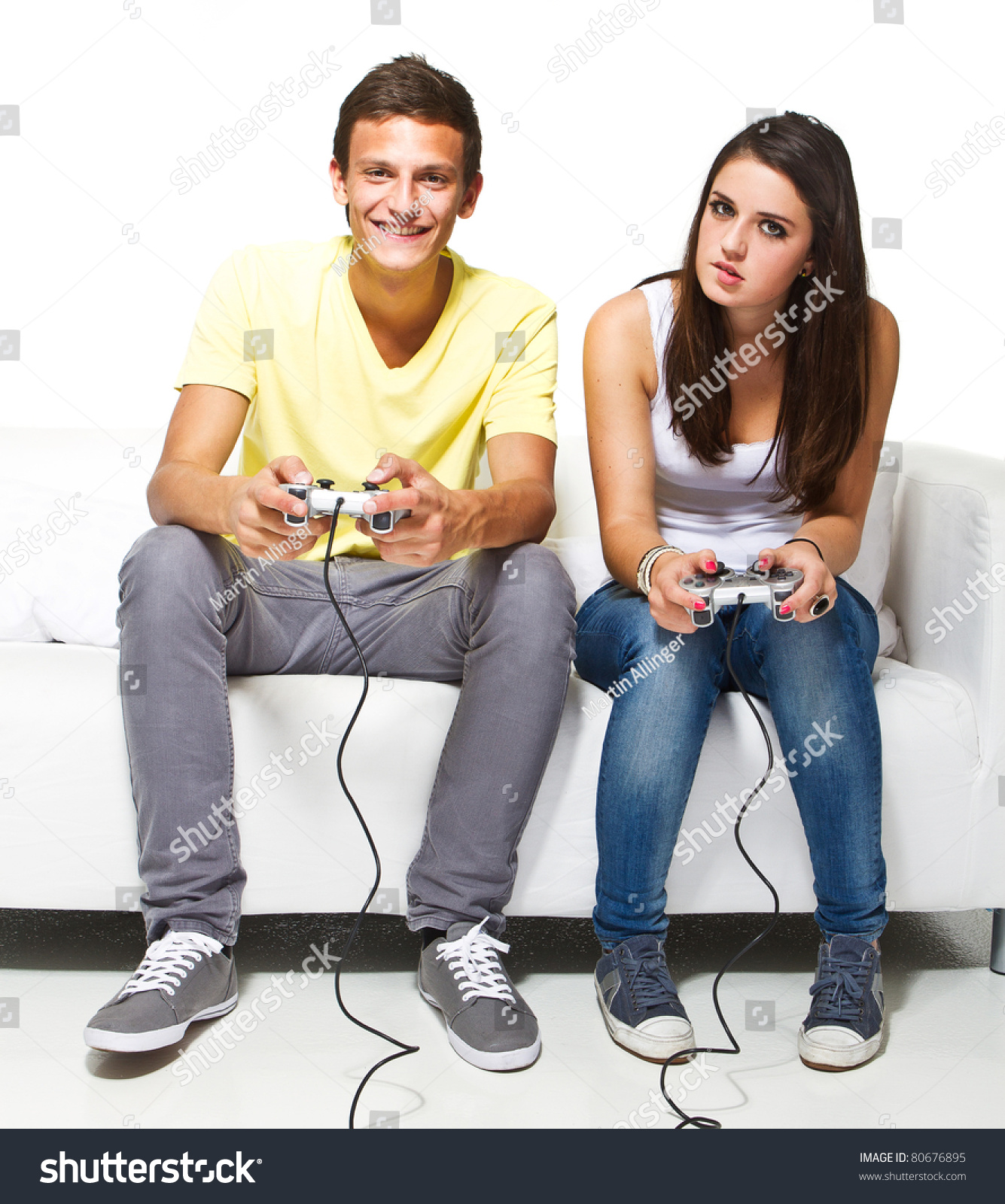 Young Couple Playing Video Games Very Stock Photo 80676895