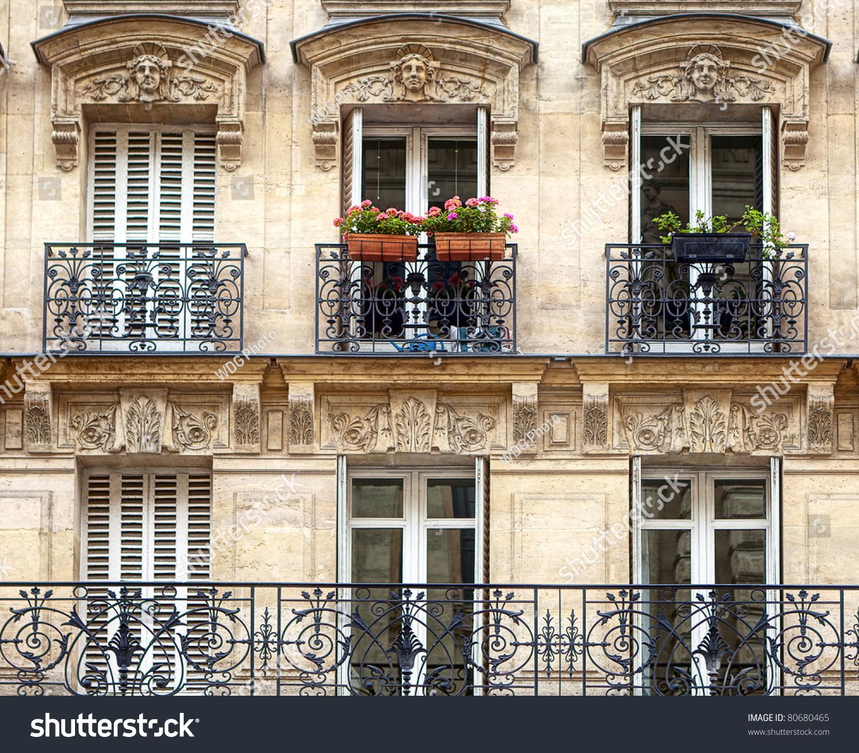 Balconies parisian architecture stock photo 80680465 for Architecture parisienne