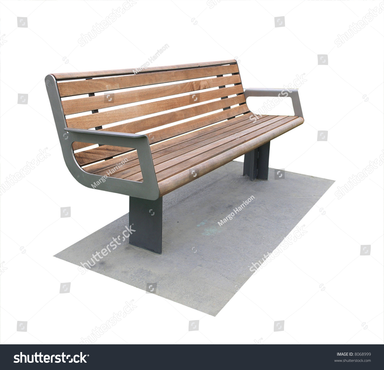 Modern Concrete Benches: Modern Park Bench On Concrete Pad Stock Photo 8068999