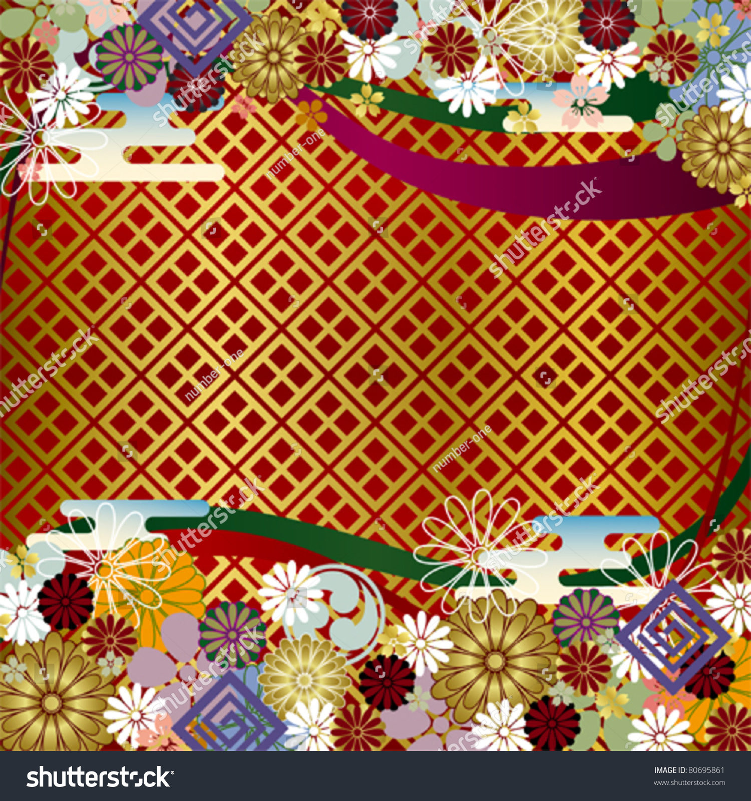 Japanese Floral Background Stock Vector Royalty Free 80695861