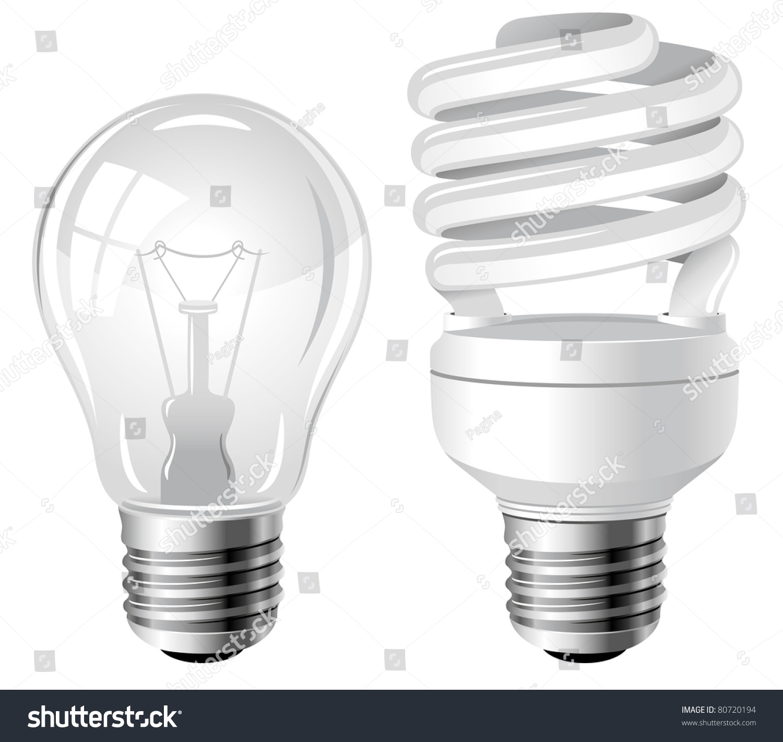 Incandescent Fluorescent Energy Saving Light Bulbs Stock Vector