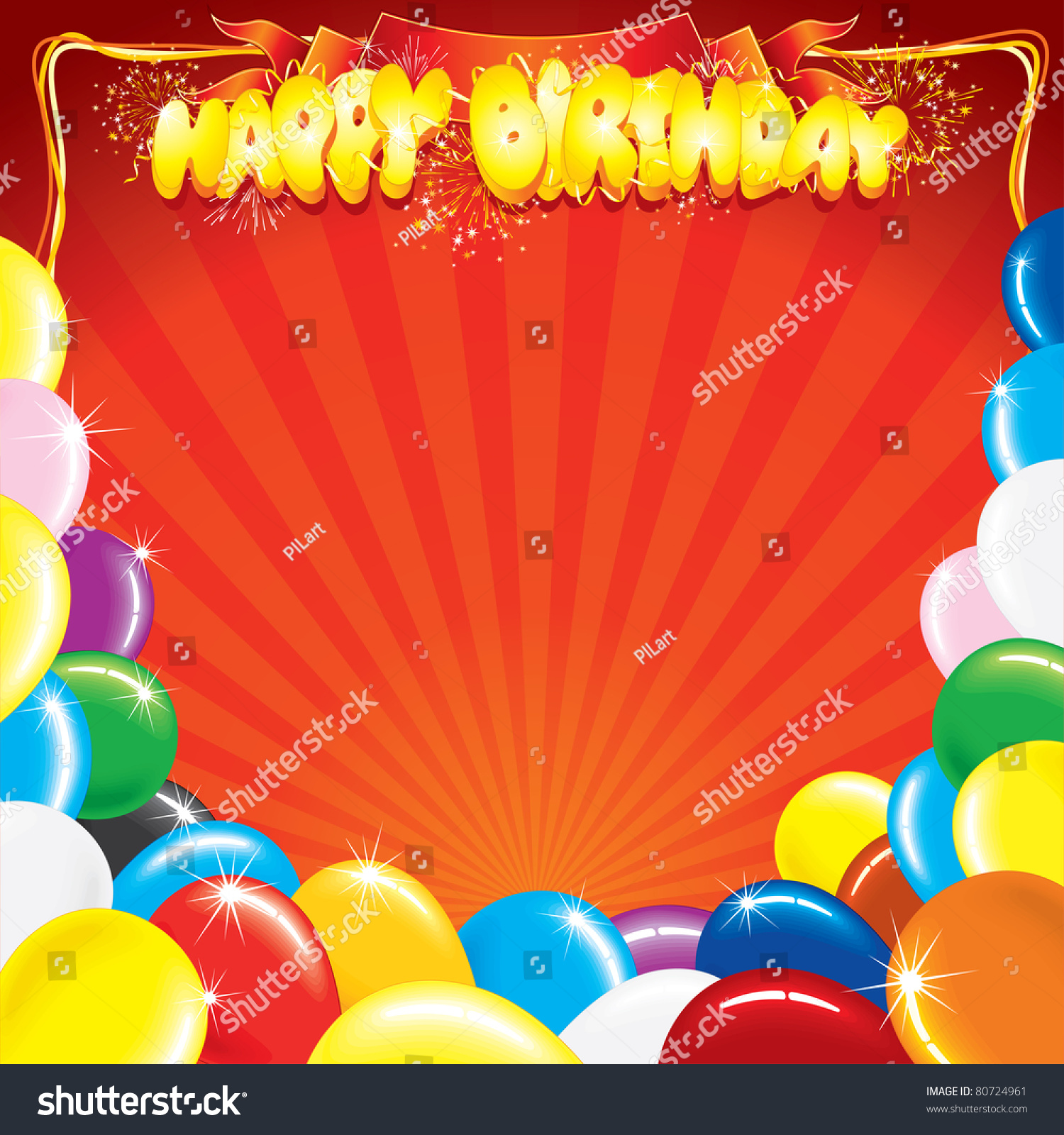 Multicolor Balloons Words Happy Birthday Template Vector – Words Template