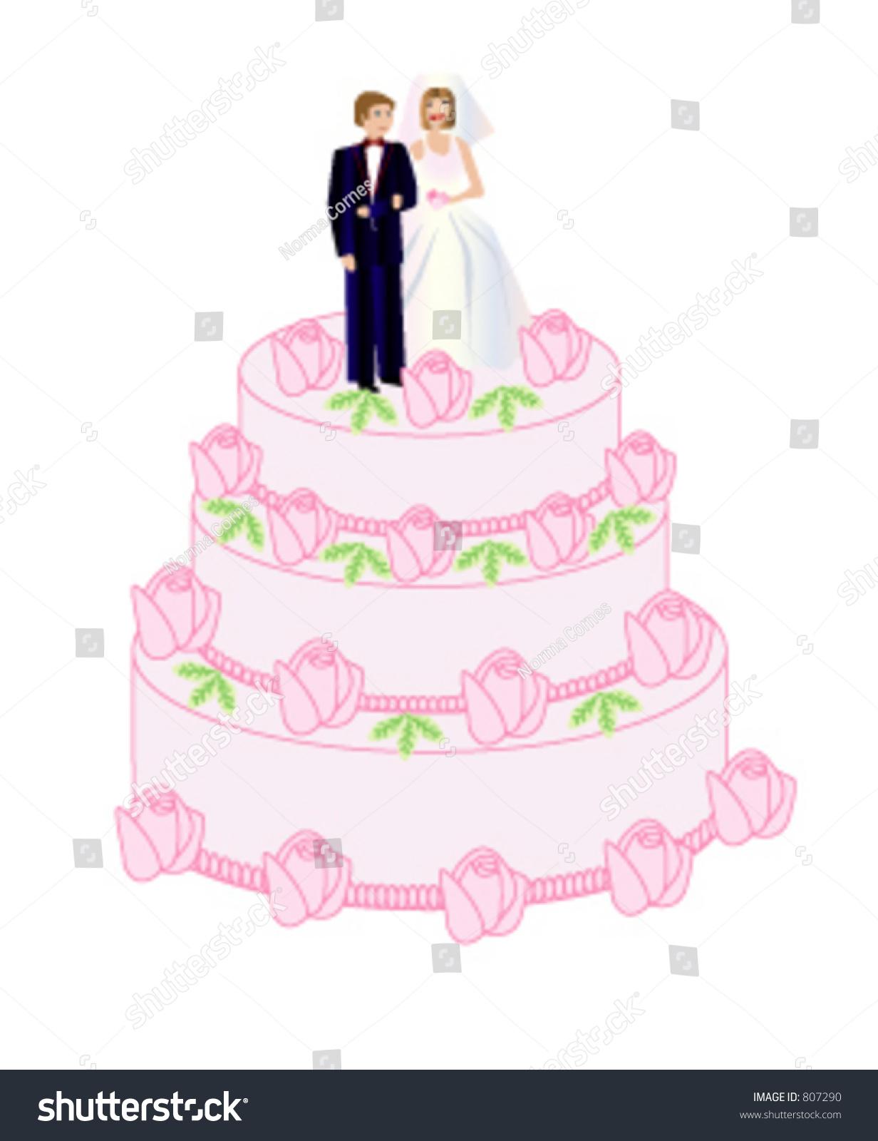 Bride Groom Standing On Wedding Cake Stock Vector (Royalty Free ...