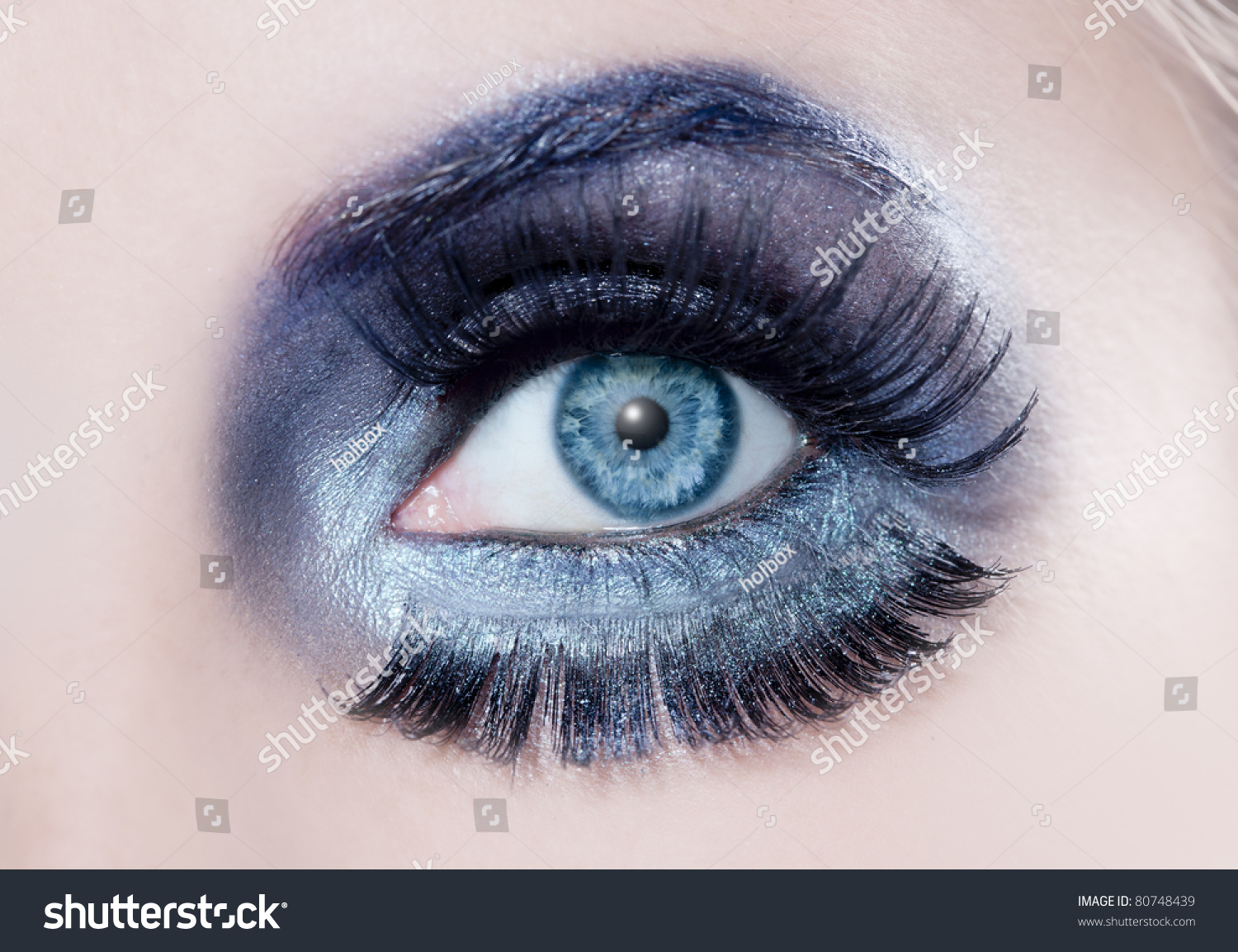 Blue Eyes Macro Winter Inspired Silver Stock Photo Edit Now