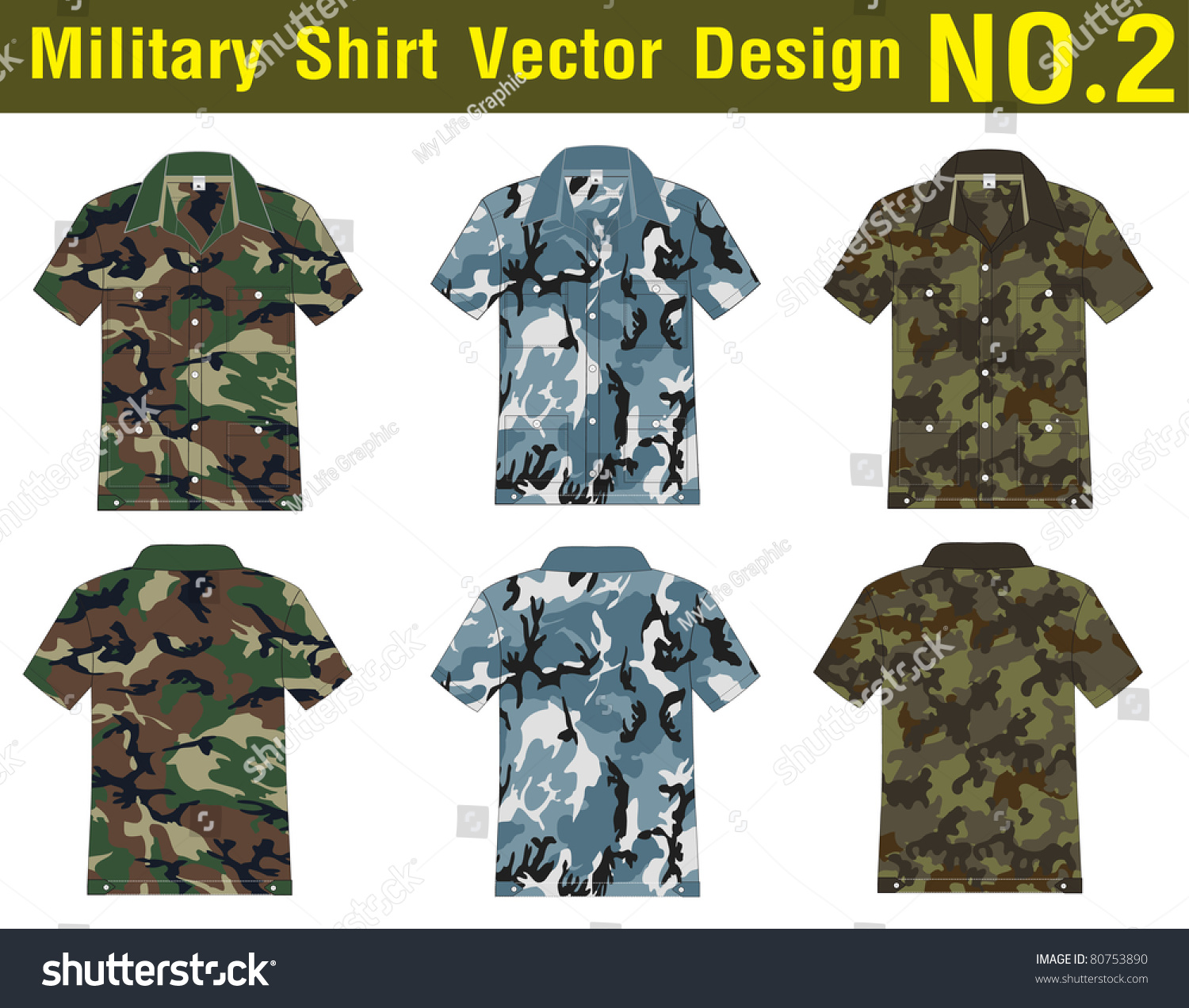 military shirt vector template front back stock vector royalty free