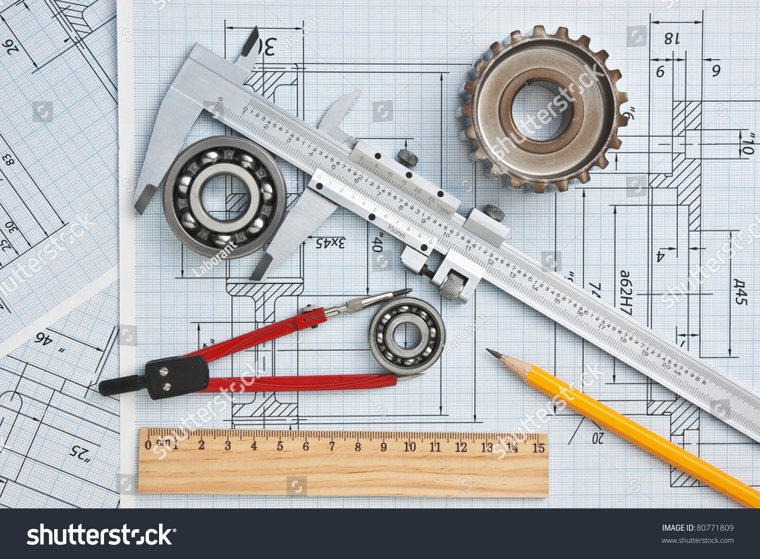 Technical Drawing Tools Stock Photo (Royalty Free) 80771809 ...