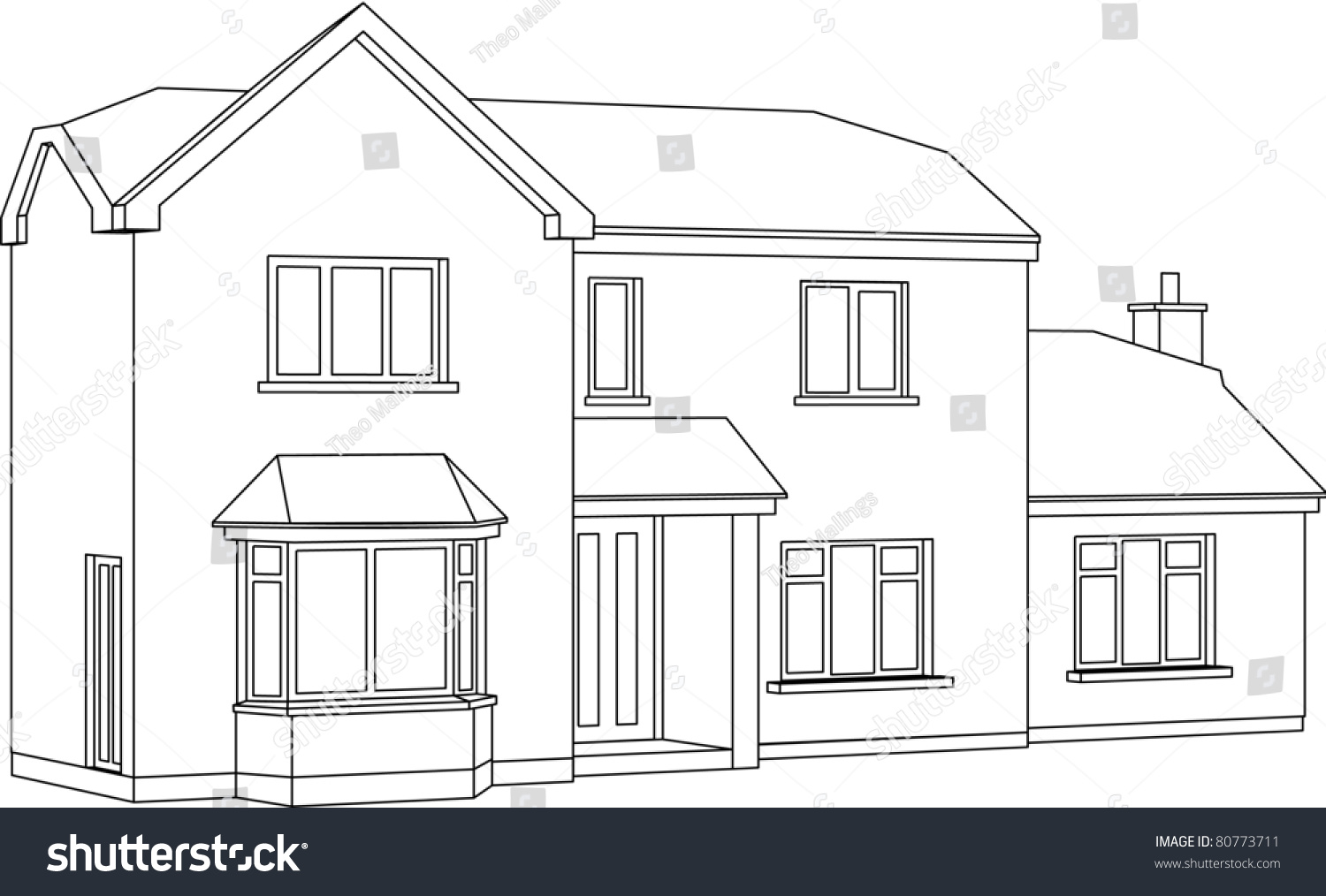 A 3d Two Point Perspective Line Drawing Of A Two Storey