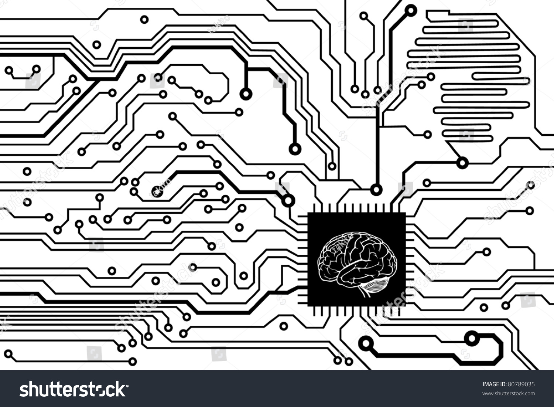 Circuit Board Pattern Vector Illustration Brain Stock Vector HD ...