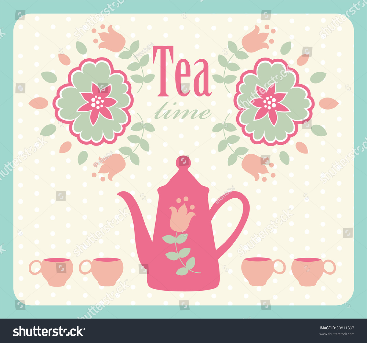 Vintage Card With Teapot. Vector Illustration - 80811397 ...
