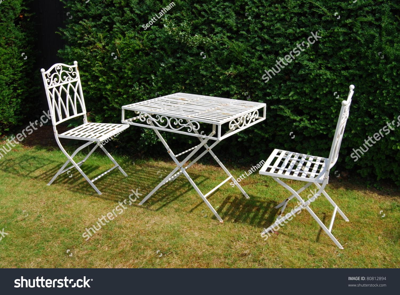 Garden Furniture White Metal white metal garden furniture on grass stock photo 80812894