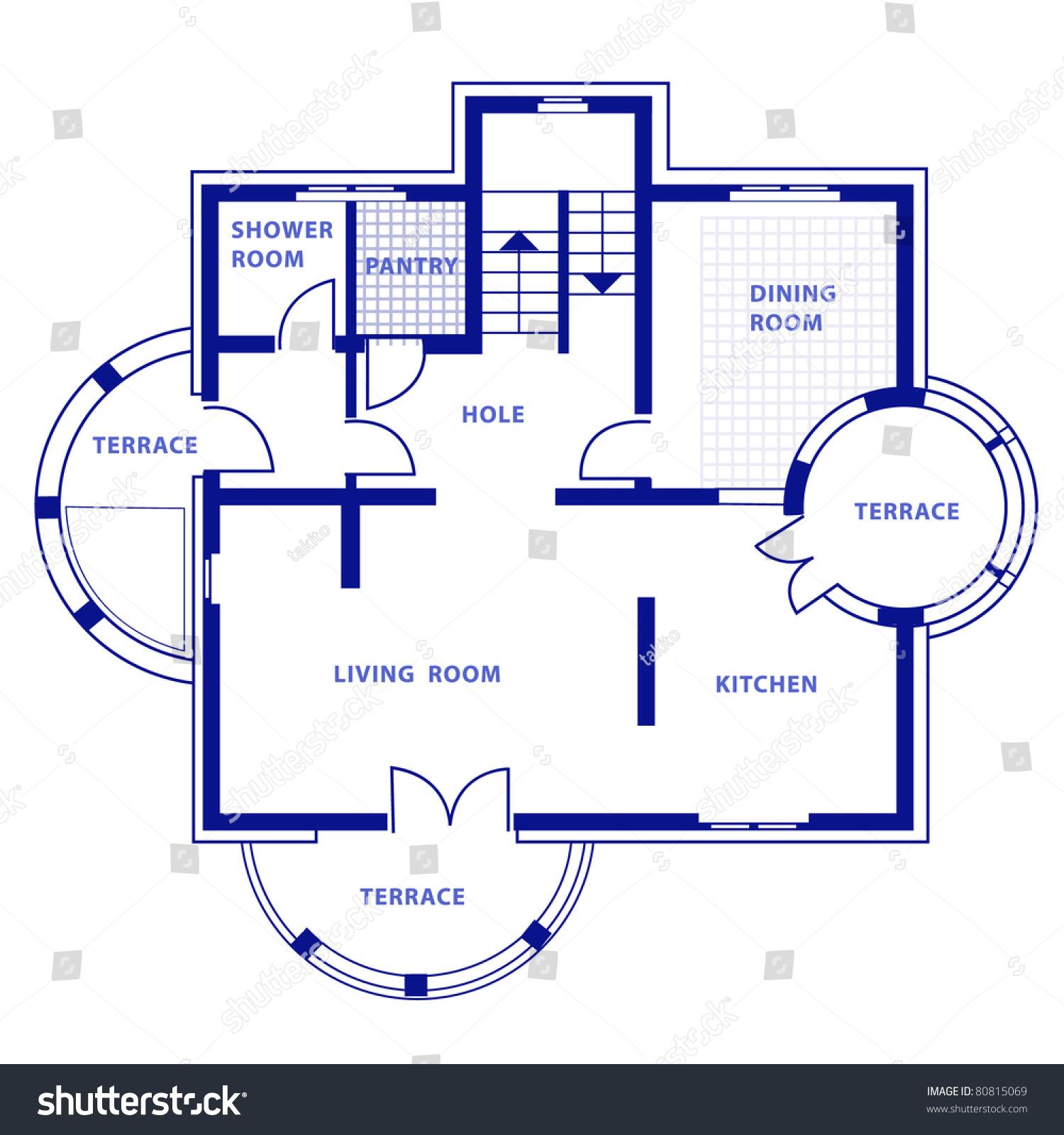 Project ground floor vector house blueprint stock vector for Blueprint homes
